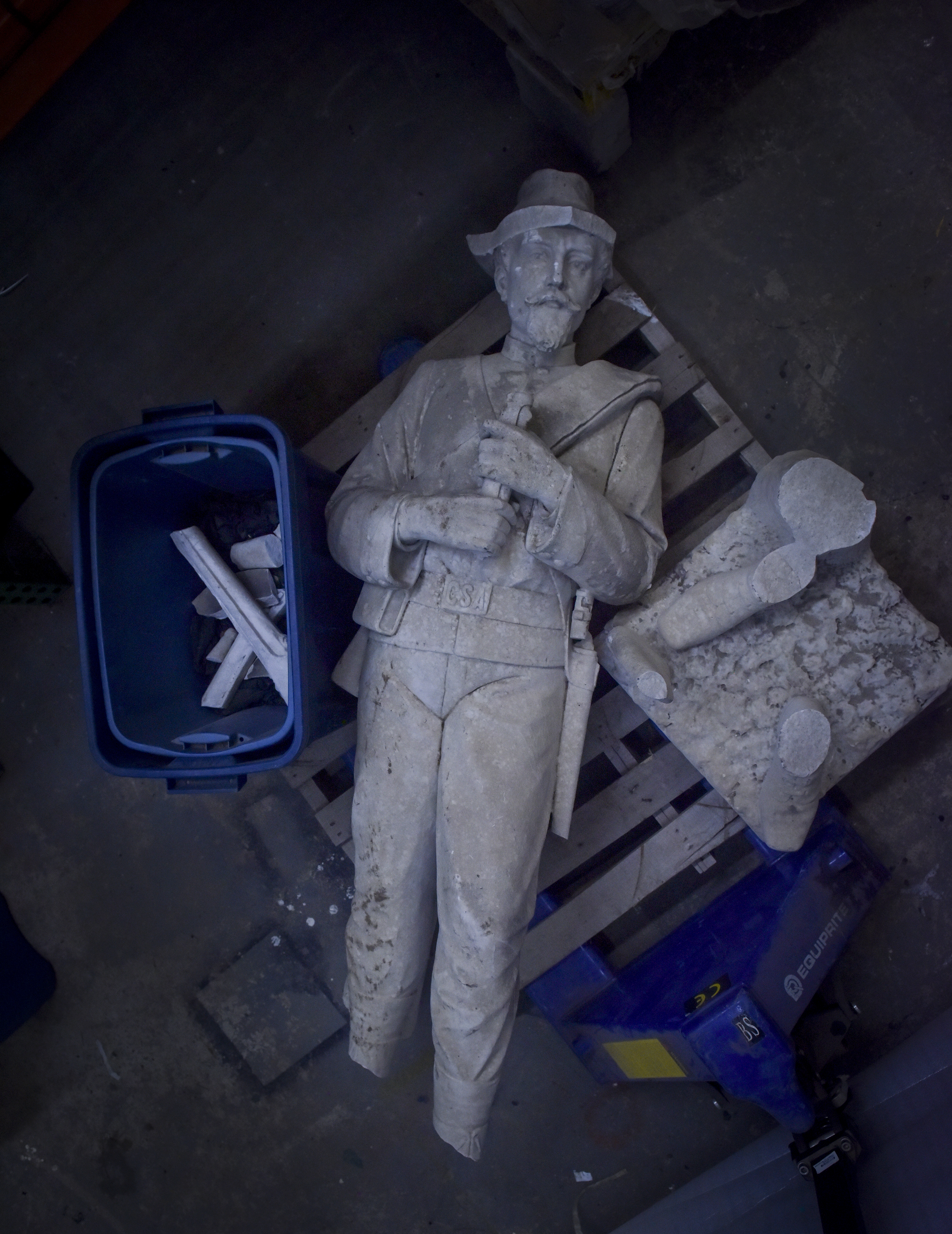 DEMOPOLIS, AL - JUNE 14: The marble statue of a Rebel soldier was unceremoniously toppled from the granite pedestal where he had presided since 1910, on Wednesday, June 14, 2017, in Demopolis, AL. About 3:30 a.m. on Saturday, July 16, 2016, an on-duty patrol car with the Demopolis, Ala., Police Department proceeded north on North Main Avenue to the intersection of West Capitol Street, where it crashed into the city's Confederate memorial. The impact of the Dodge Charger broke the statue off at the shins. Undamaged was the inscription on the base: