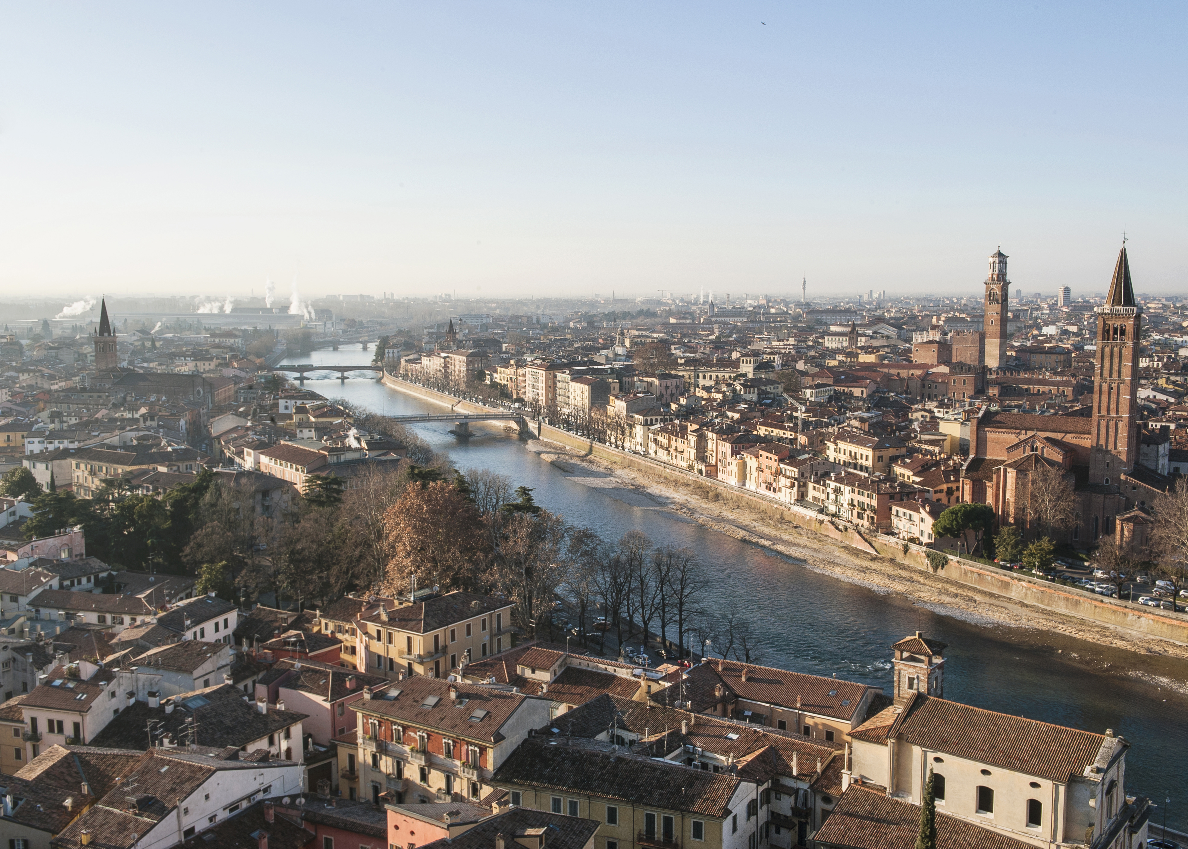 The city of Verona, Italy, as seen from the Castel San Pietro on Jan. 25, 2019. MUST CREDIT: Photo for The Washington Post by Emanuele Amighetti