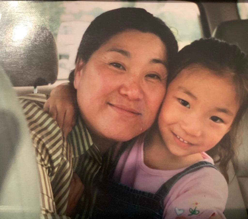 Suncha Kim and her granddaughter pose about 20 years ago in Virginia. MUST CREDIT: Photo courtesy of the family of Suncha Kim