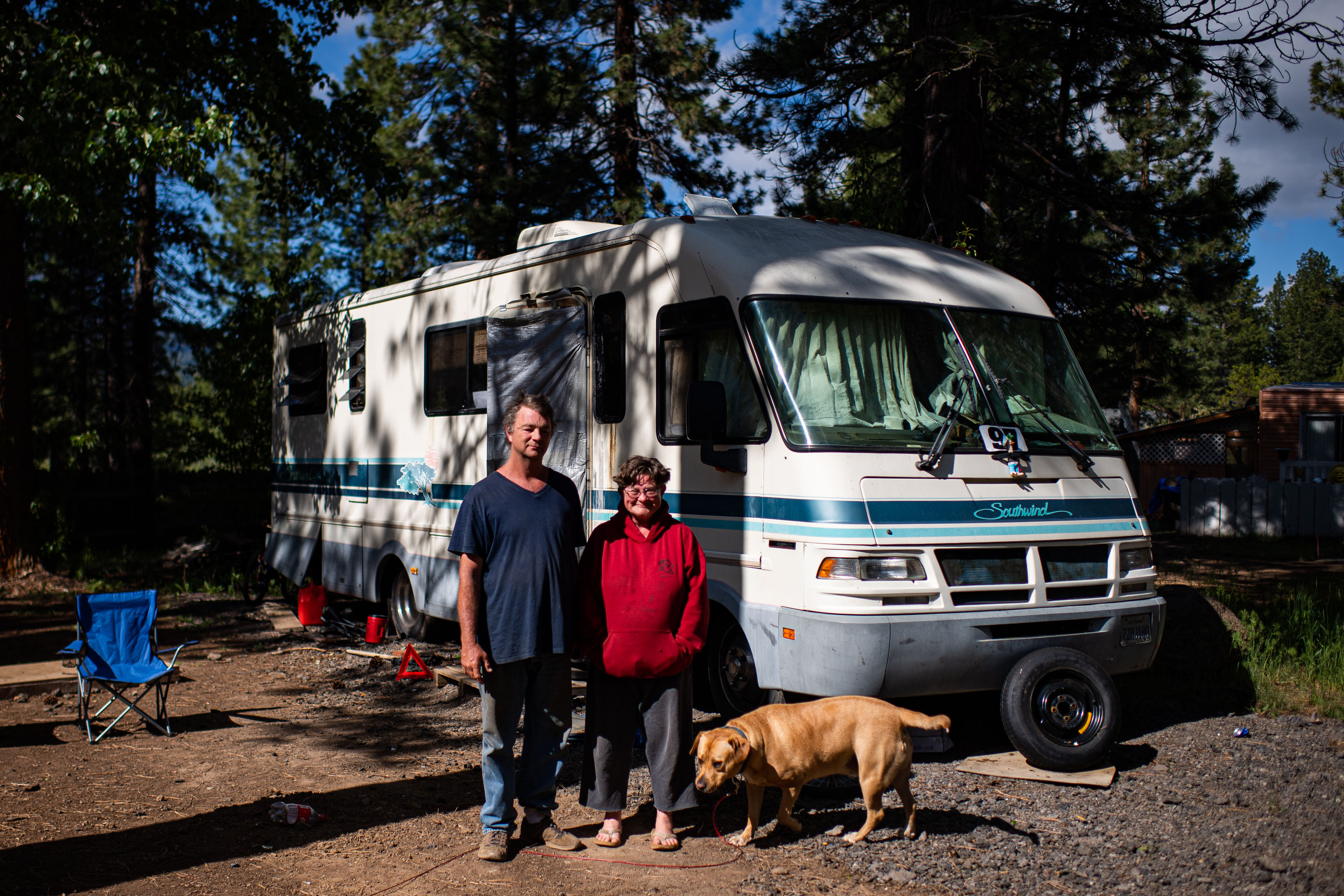 During the California fire, Dan Breland fled the RV camp where he was living with his wife, Suzette Breland, their 16-year-old son and dog, Meatball. MUST CREDIT: Washington Post photo by Salwan Georges