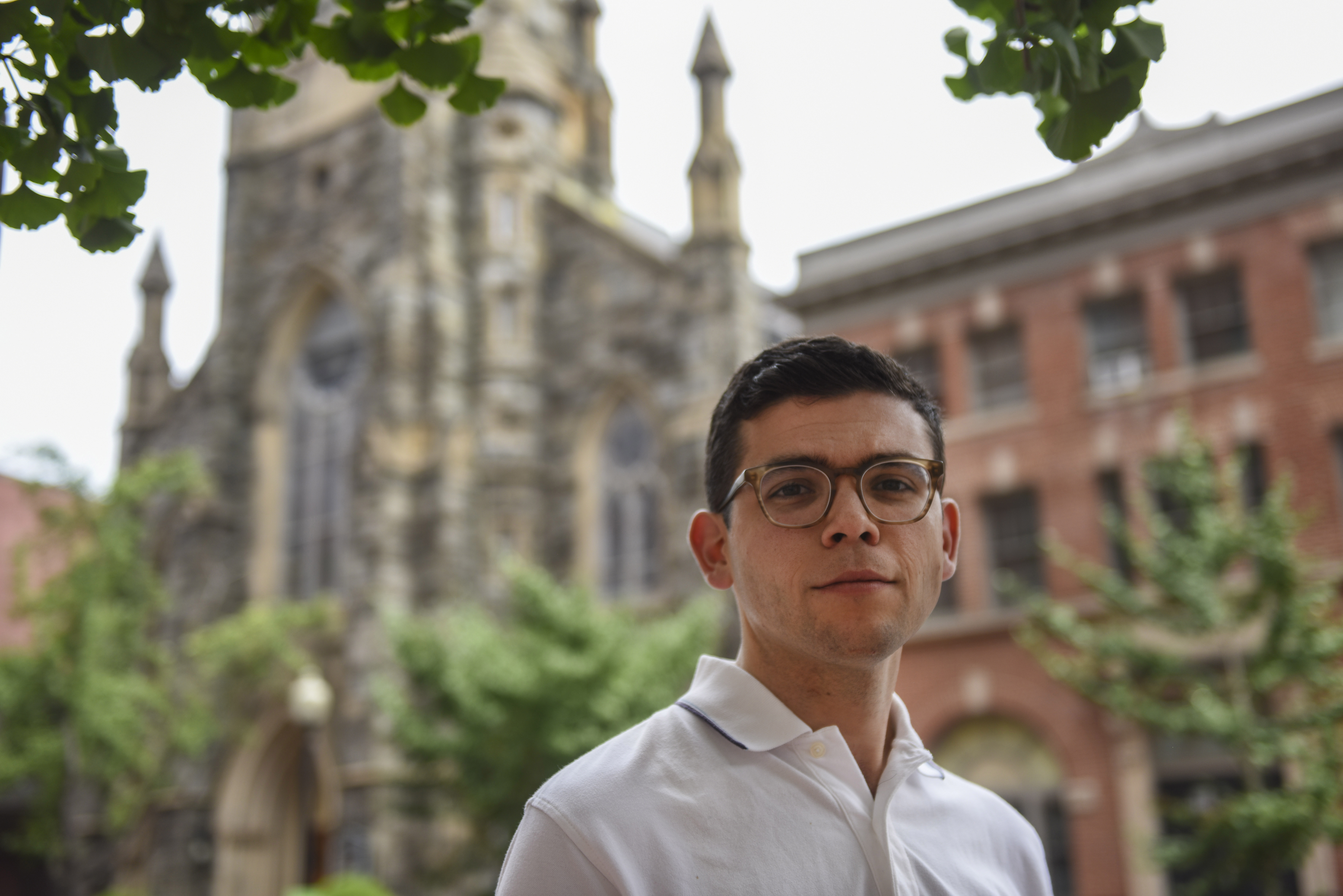 Matthew Mangiaracina stands outside of St. Mary Mother of God Catholic Church in Washington. Mangiaracina used to attend St. Patrick's but changed parishes this past week because he didn't want to face Cardinal Donald Wuerl. MUST CREDIT: Washington Post photo by Michael Robinson Chavez