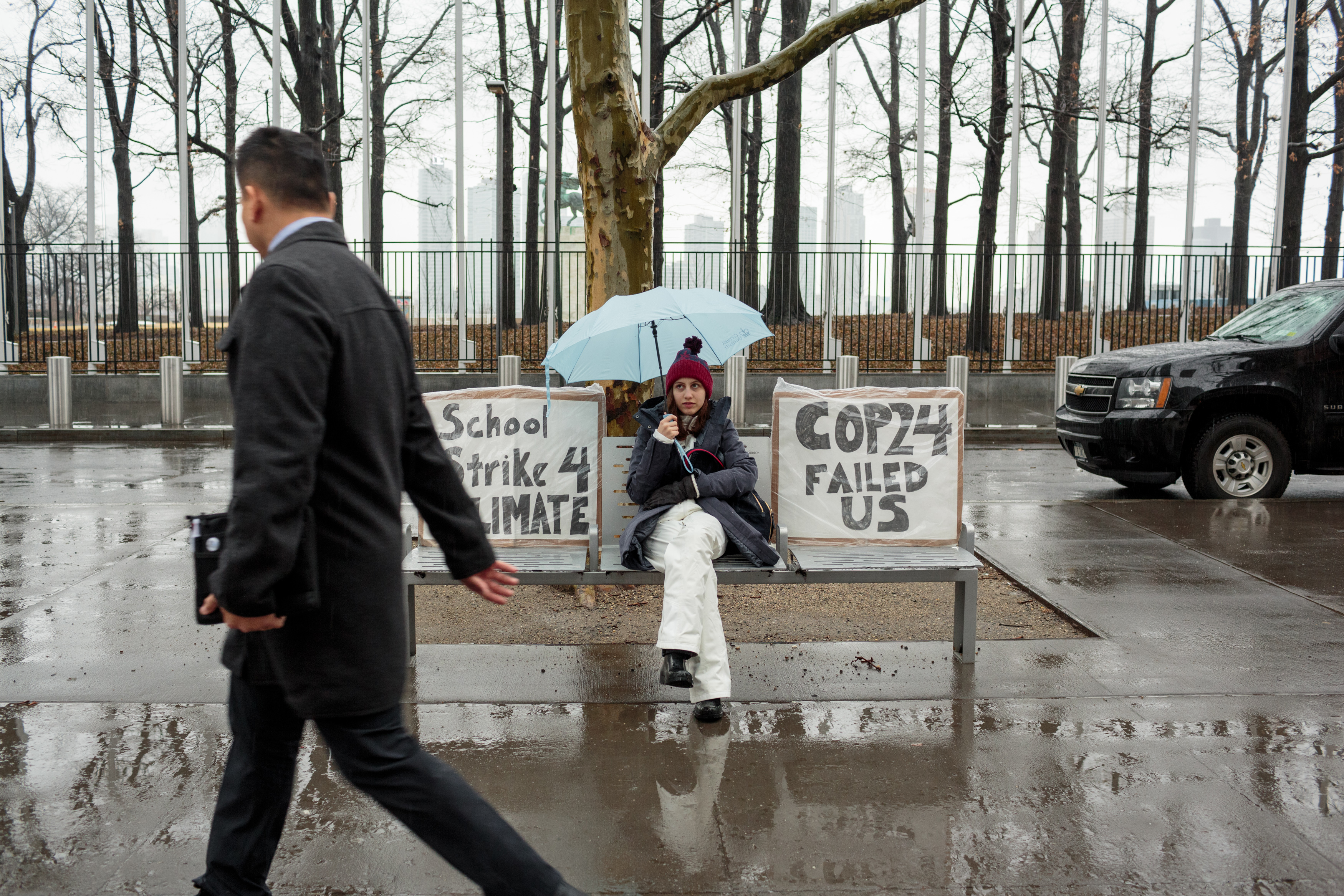 Alexandria Villasenor, 13, skips school to strike in front of the United Nations, with signs reading: