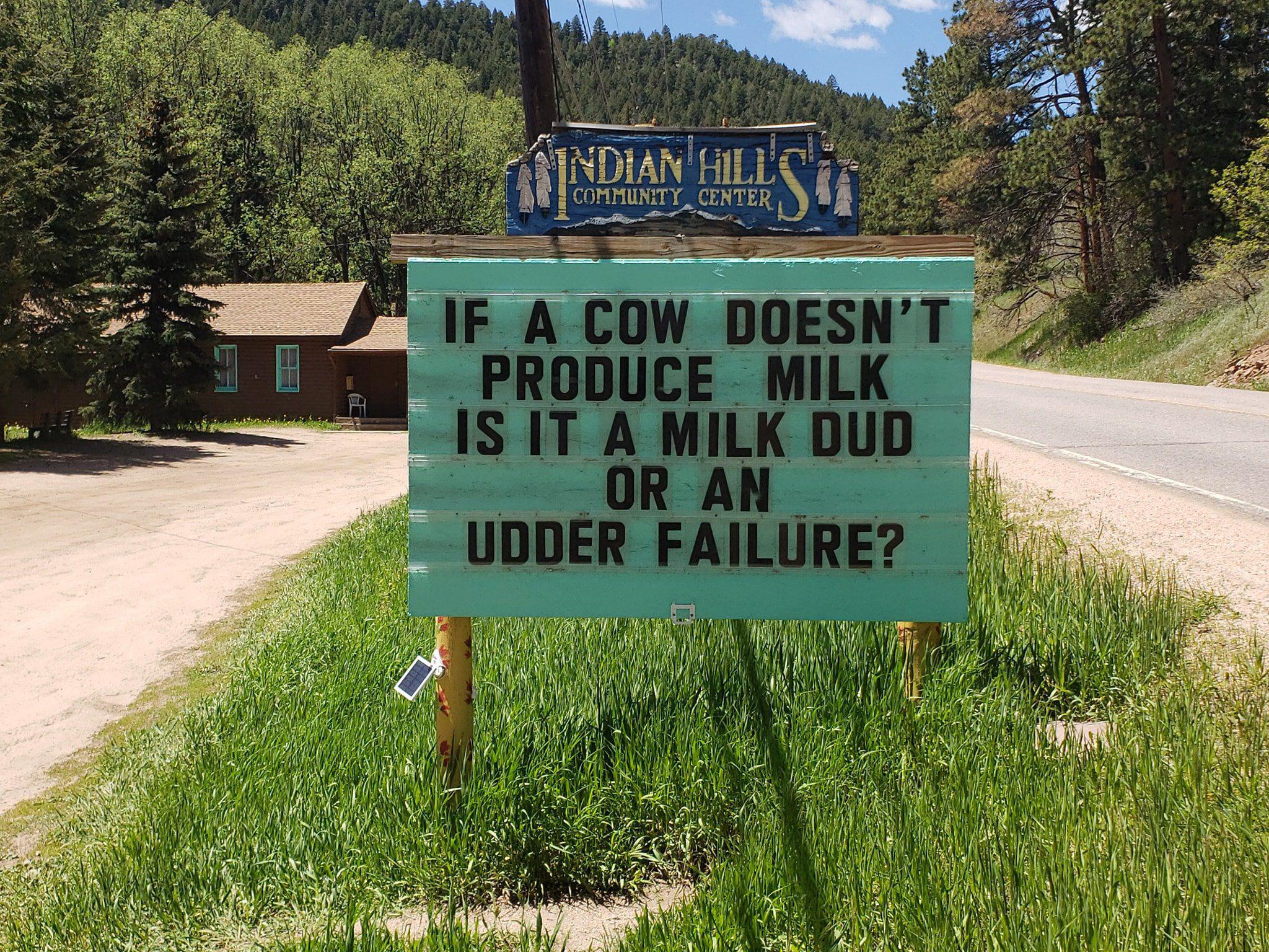 He adds humor to roadside signs