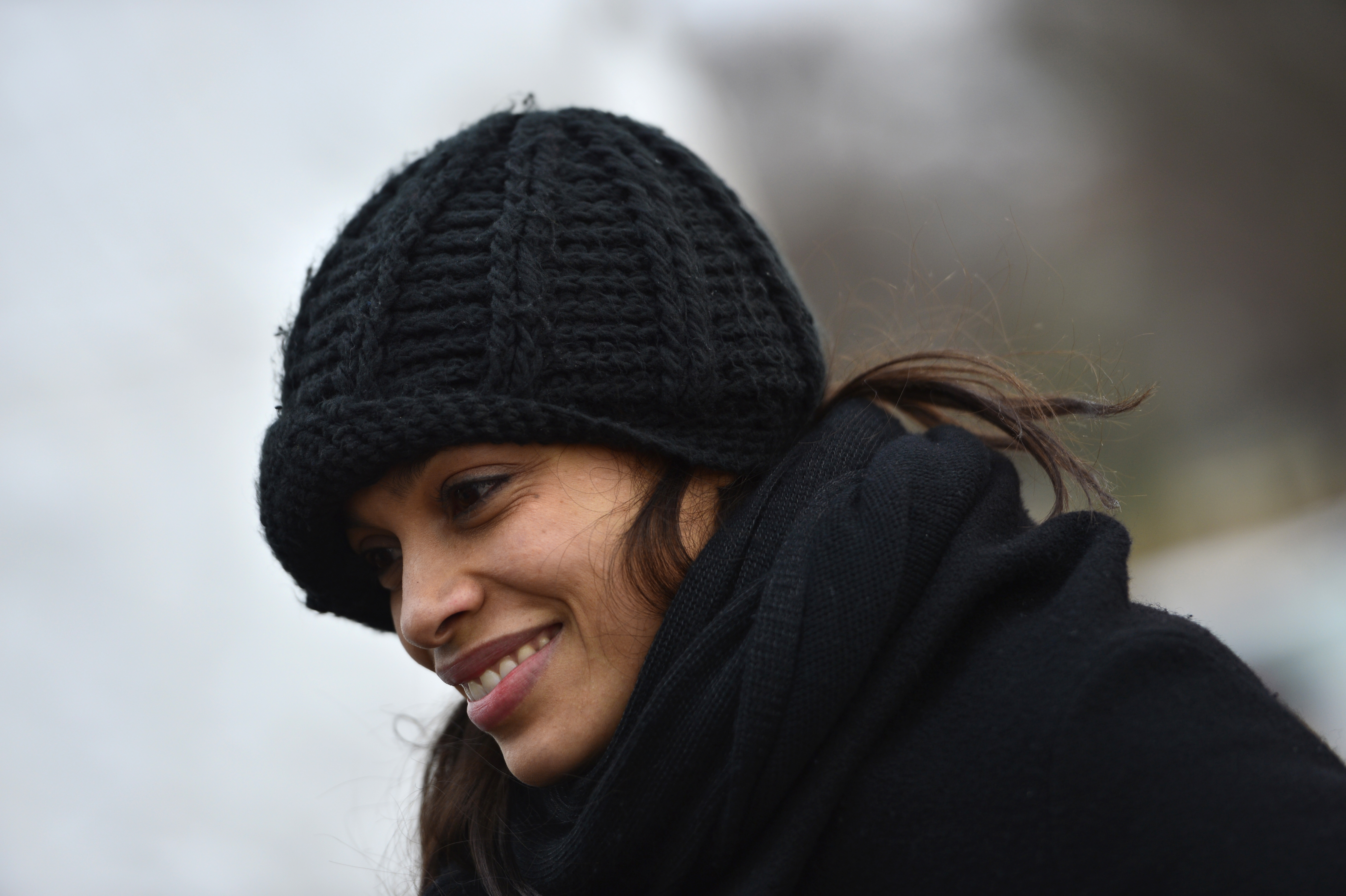 Actress and activist Rosario Dawson was among the crowd of several thousand people who gathered on the National Mall for the
