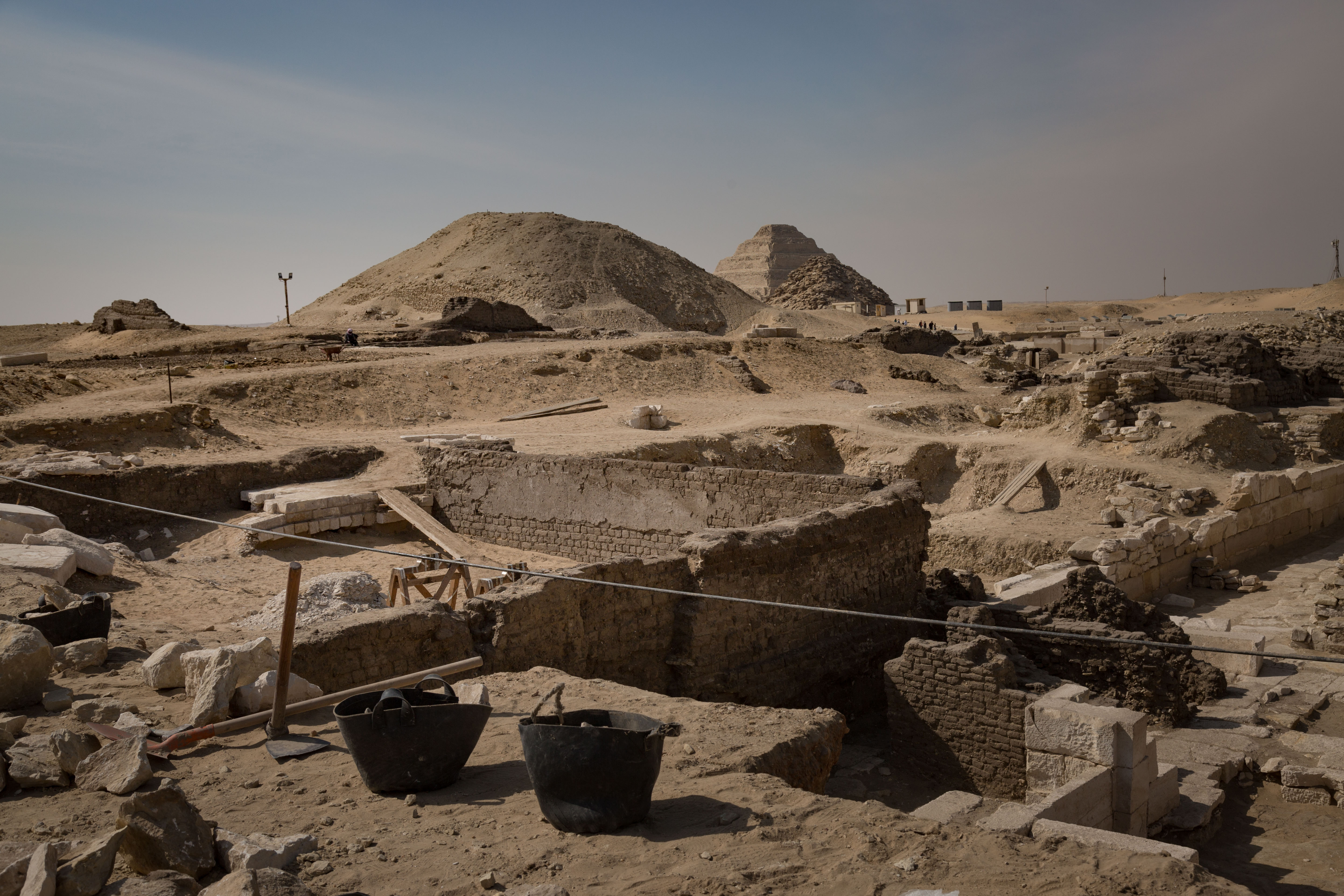 Renowned archaeologist Zahi Hawass's dig site at Saqqara, Egypt, in February. The discovery, among many others, of a previously unknown queen has reshaped researchers' understanding of ancient Egyptians. MUST CREDIT: photo for The Washington Post by Sima Diab.