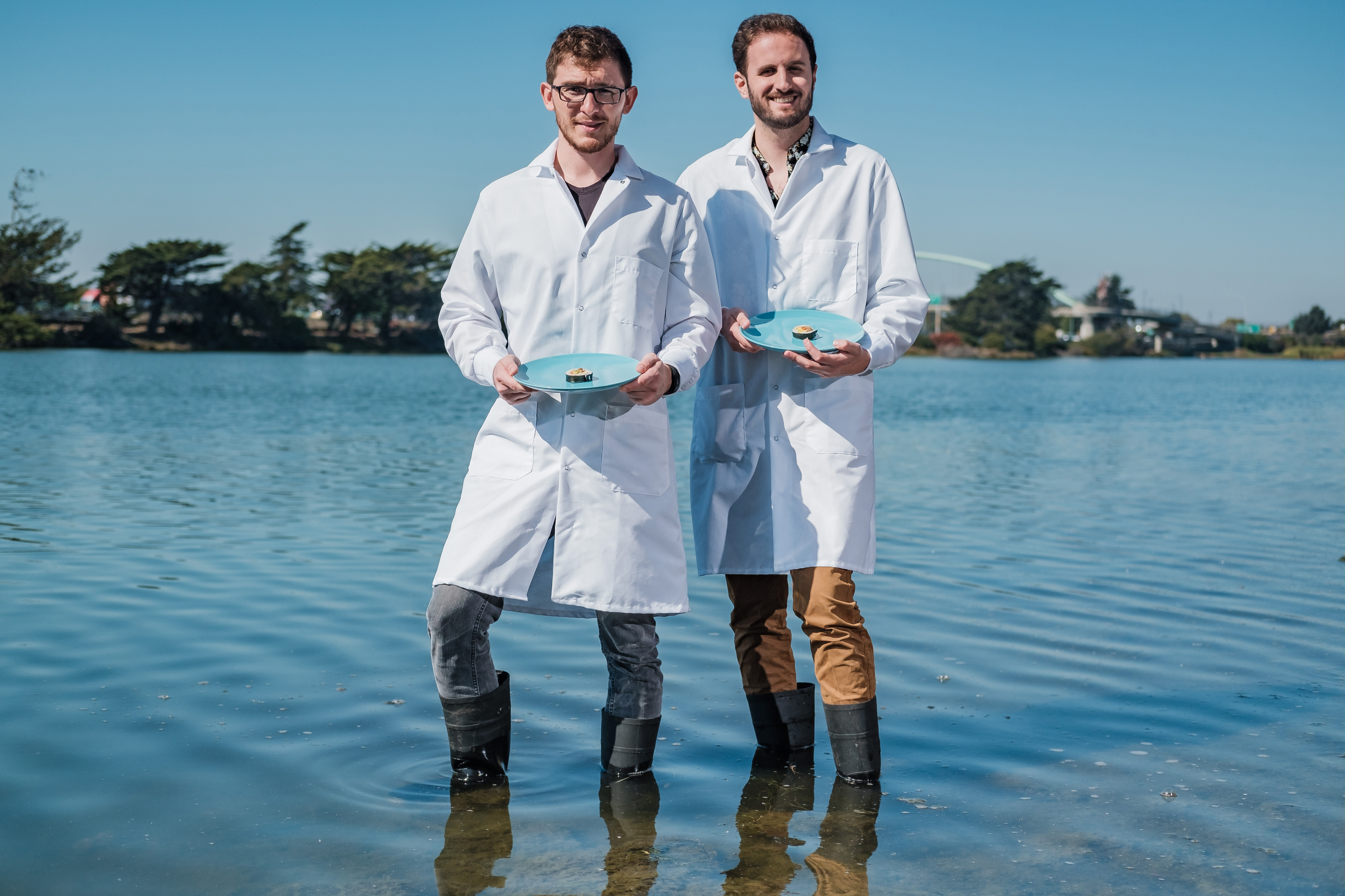 Brian Wyrwas, left, and Mike Selden, founders of Finless Foods. MUST CREDIT: Photo by Nick Otto for The Washington Post.