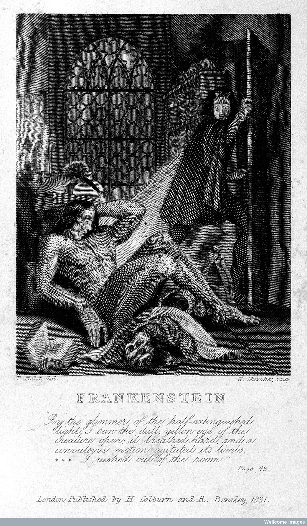 Victor Frankenstein observing the first stirrings of his creature in an engraving by Theodor von Holstafter for the frontispiece of