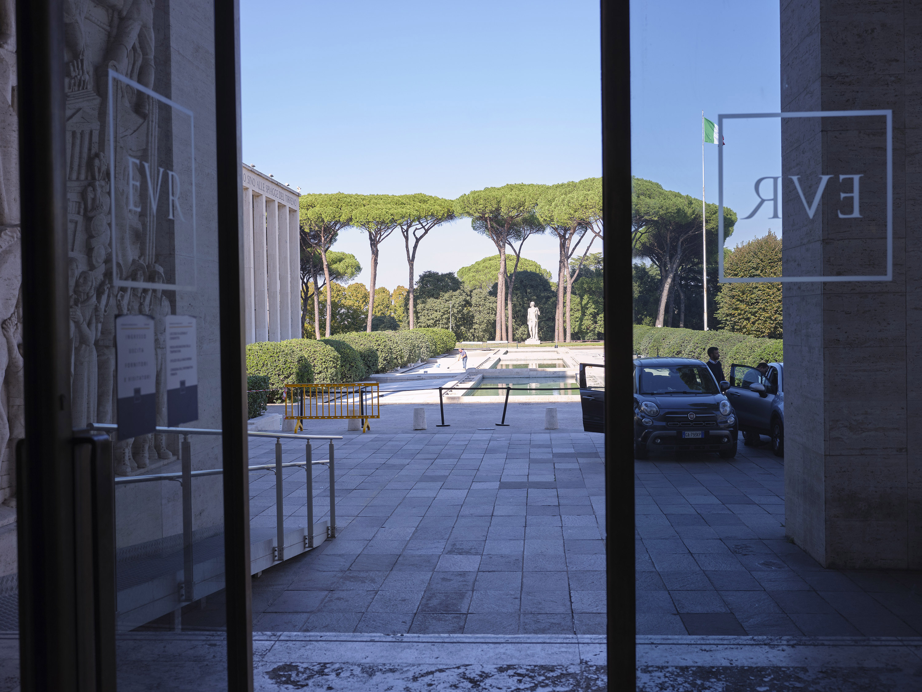 A view from the Palazzo Uffici, completed in 1939, before war forced the cancellation of the 1942 World's Fair. A bas-relief sculpture depicting Mussolini flanks the entrance. MUST CREDIT: Photo for The Washington Post by Federica Valabrega.