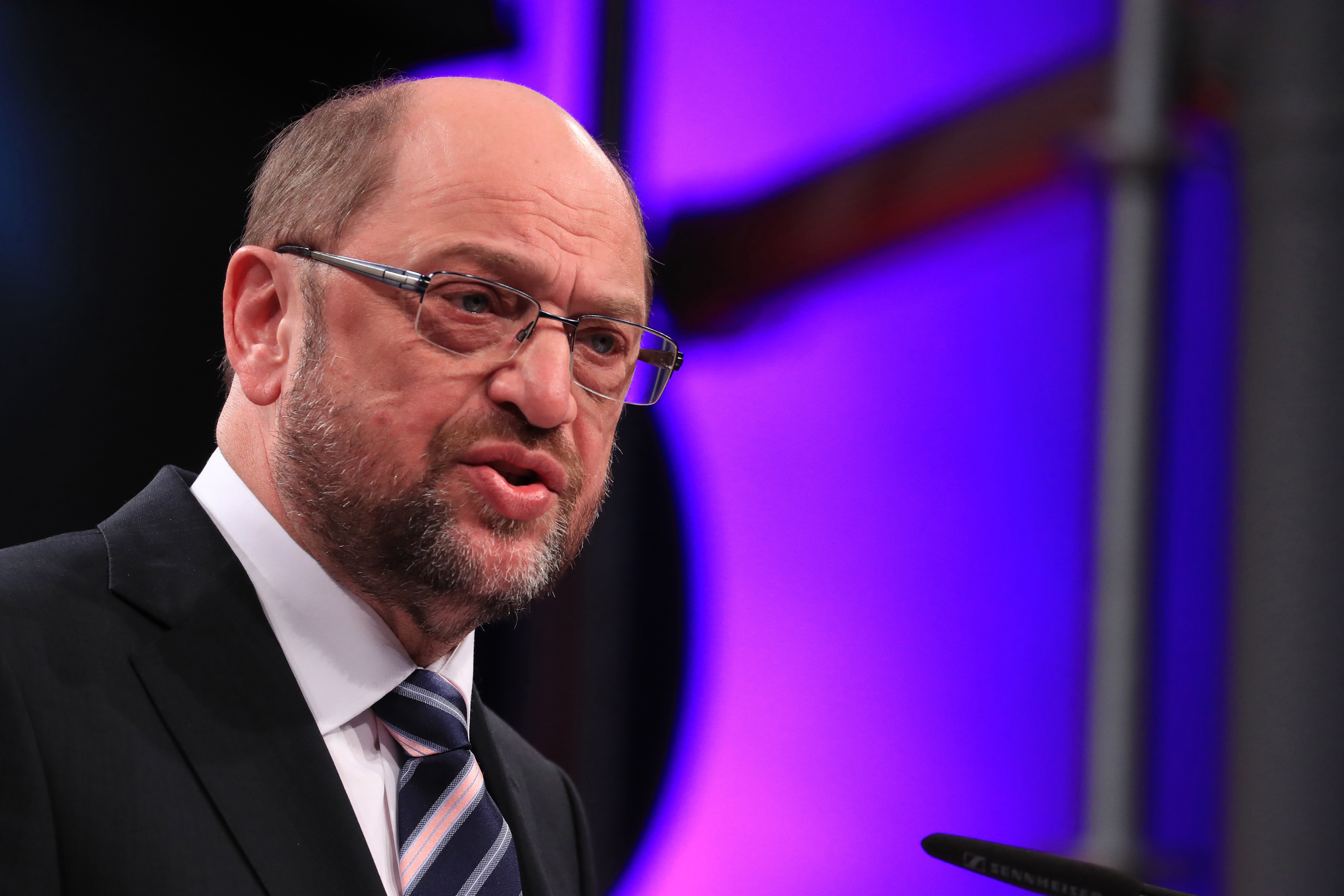 Martin Schulz, Social Democrat Party (SPD) candidate for German Chancellor, speaks during a SPD labour conference in Bielefeld, Germany, on Feb. 20, 2017. MUST CREDIT: Bloomberg photo by Krisztian Bocsi.