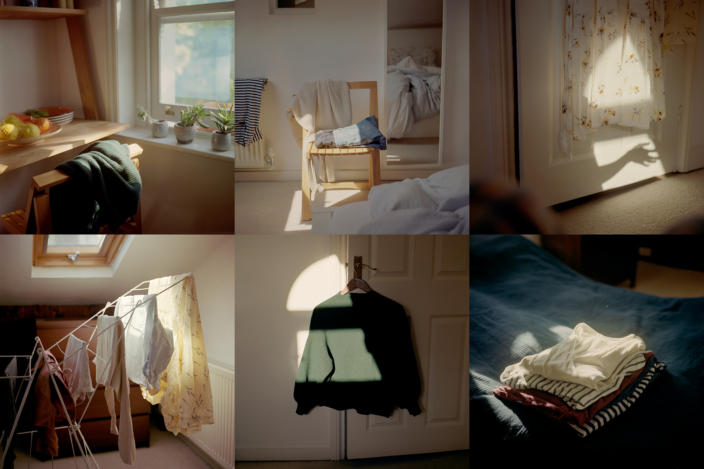 Composite image of six still-life photographs of maternity clothing inside a home. MUST CREDIT: Photo for The Washington Post by Tori Ferenc