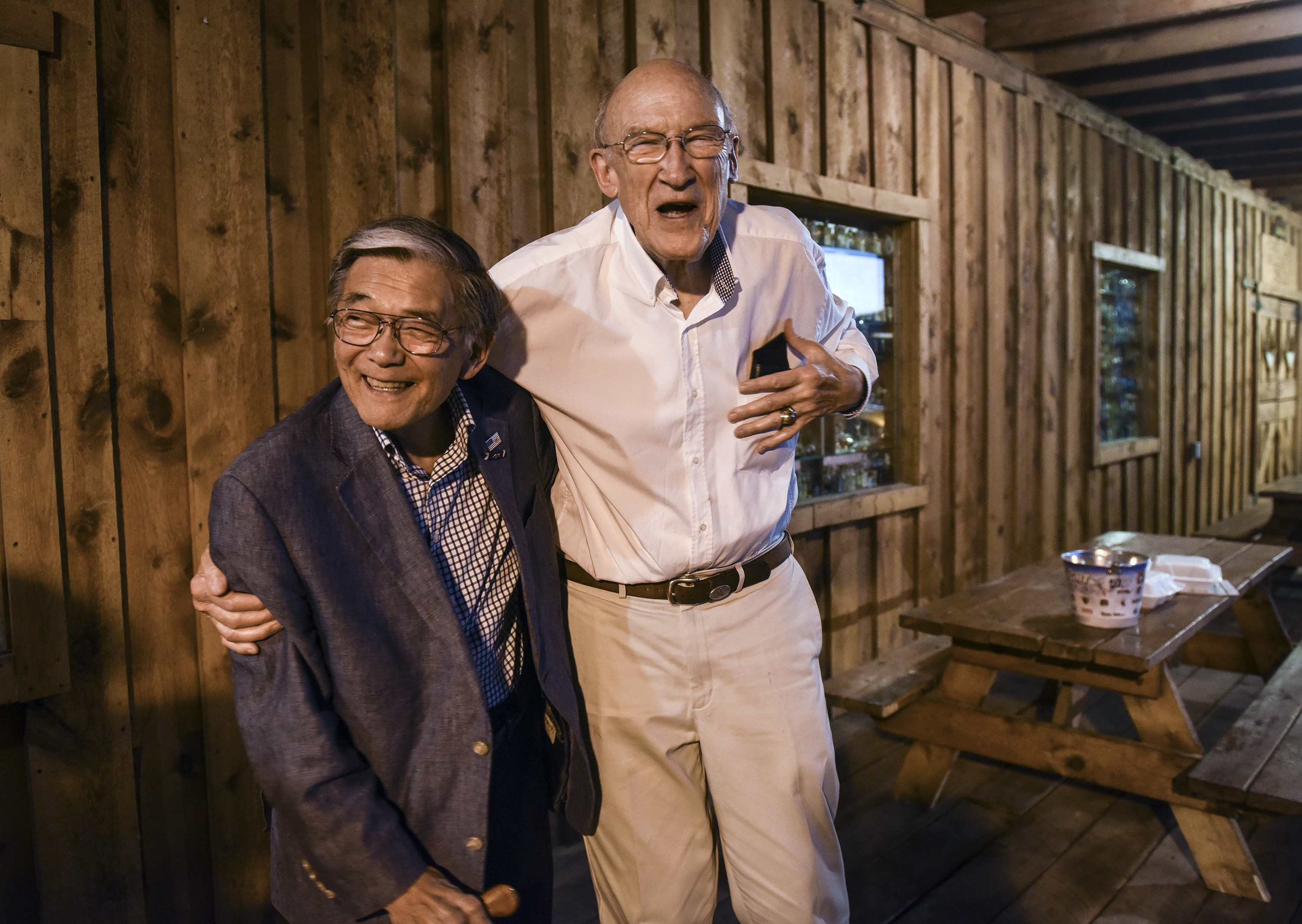 Former congressman Norman Mineta, D-Calif., and former senator Alan K. Simpson, R-Wyo., share a moment after dinner in Cody, Wyo., near the preserved site of the Heart Mountain internment camp. MUST CREDIT: Washington Post photo by Bill O'Leary