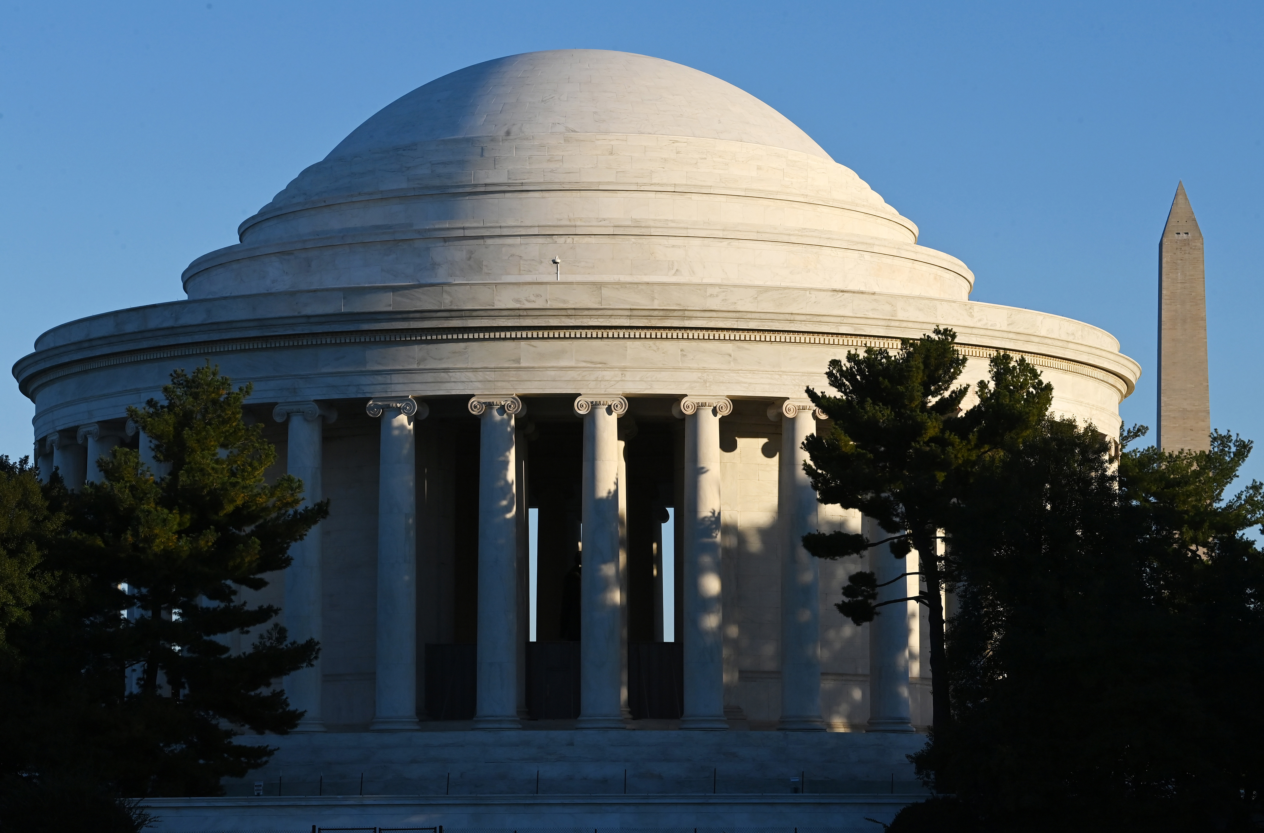 The Jefferson Memorial is seen on Tuesday October 19, 2021 in Washington, DC. The dome of the memorial has been restored along with other portions of the building. MUST CREDIT: Washington Post photo by Matt McClain