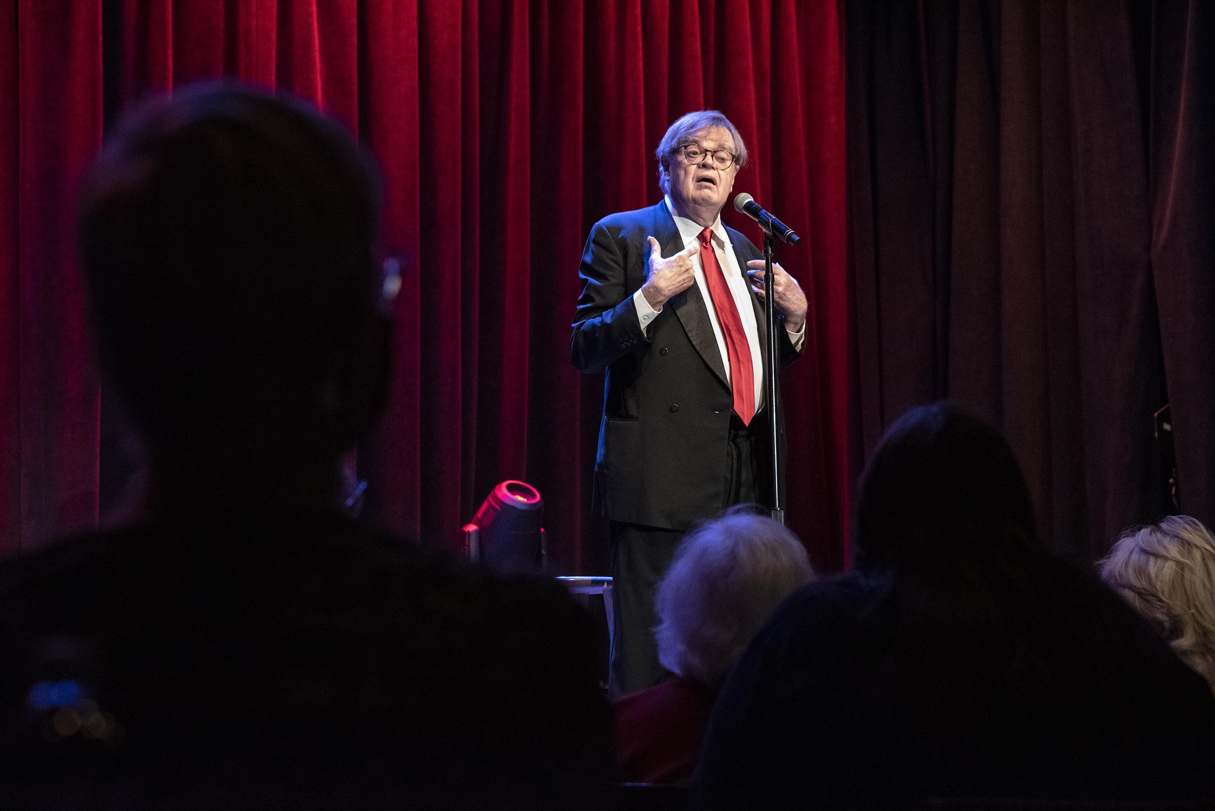 Garrison Keillor onstage at Sellersville Theater in Pennsylvania.