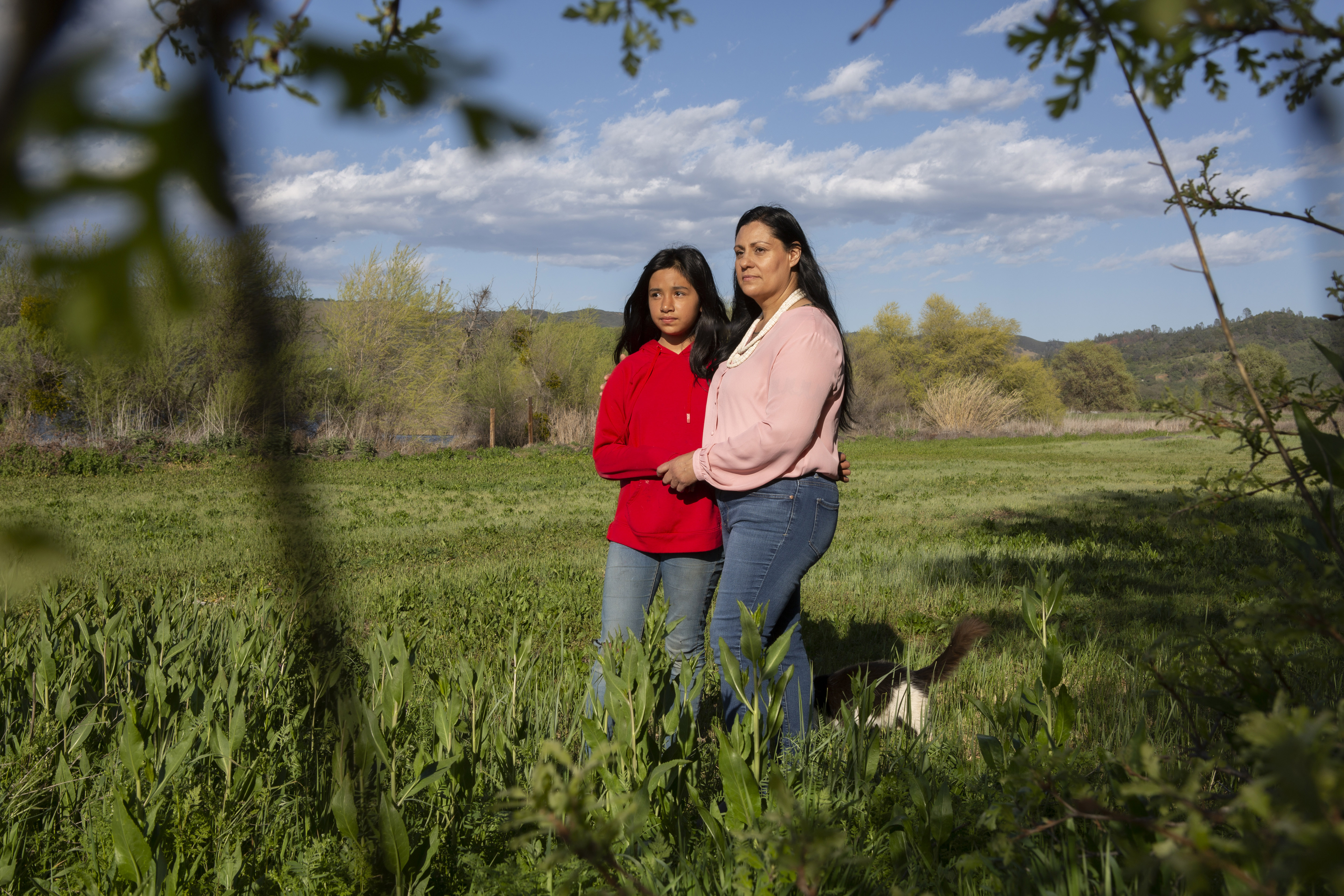 Quirina Geary and her daughter Niyatsatha Geary pose at their home in Clearlake Oaks, Calif., on Tuesday, April 13, 2021. MUST CREDIT: Photo for The Washington Post by Rachel Bujalski
