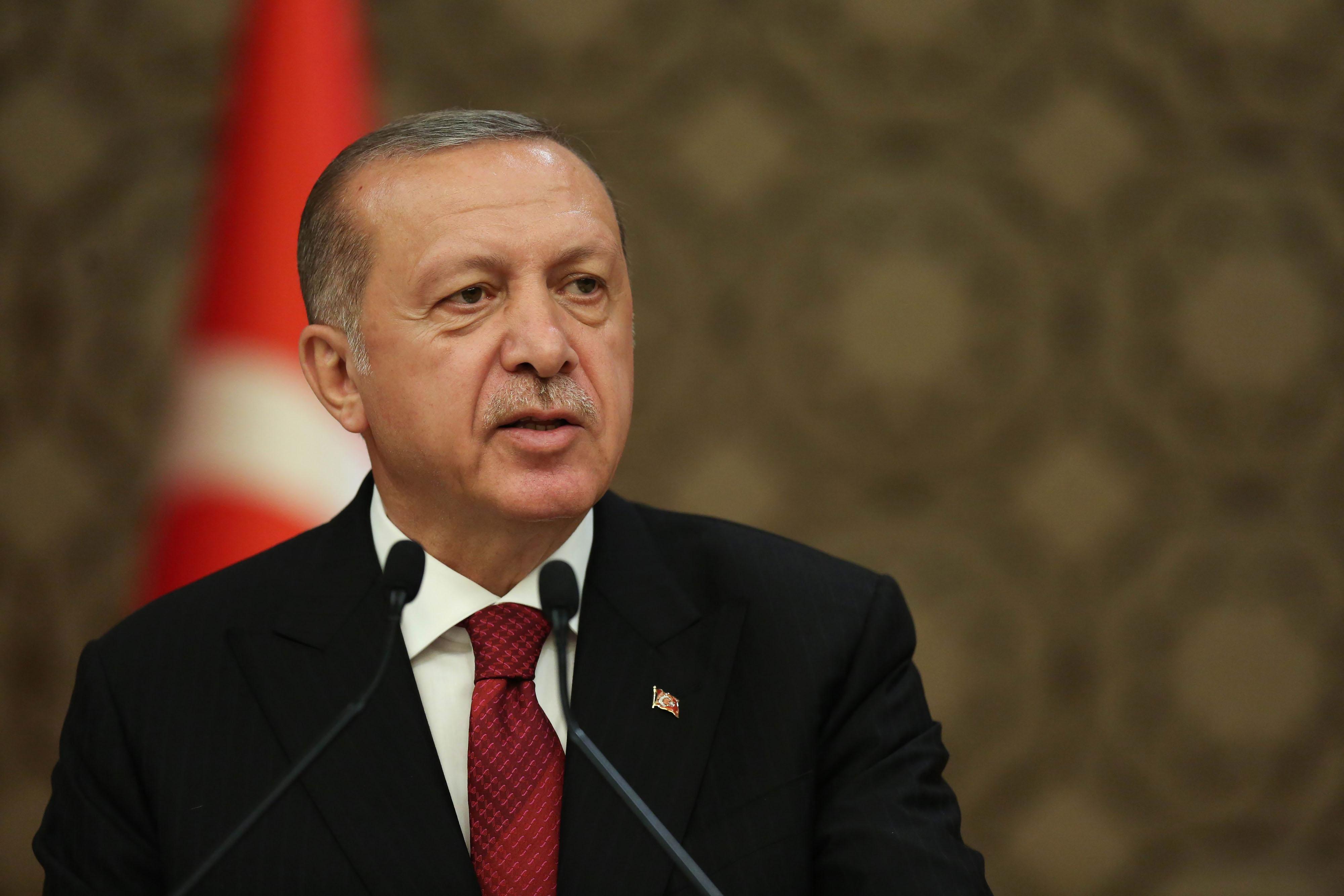 Turkish President Recep Tayyip Erdogan at the Presidential palace in Ankara, Turkey, on July 9, 2018. MUST CREDIT: Bloomberg photo by Arif Akdogan.