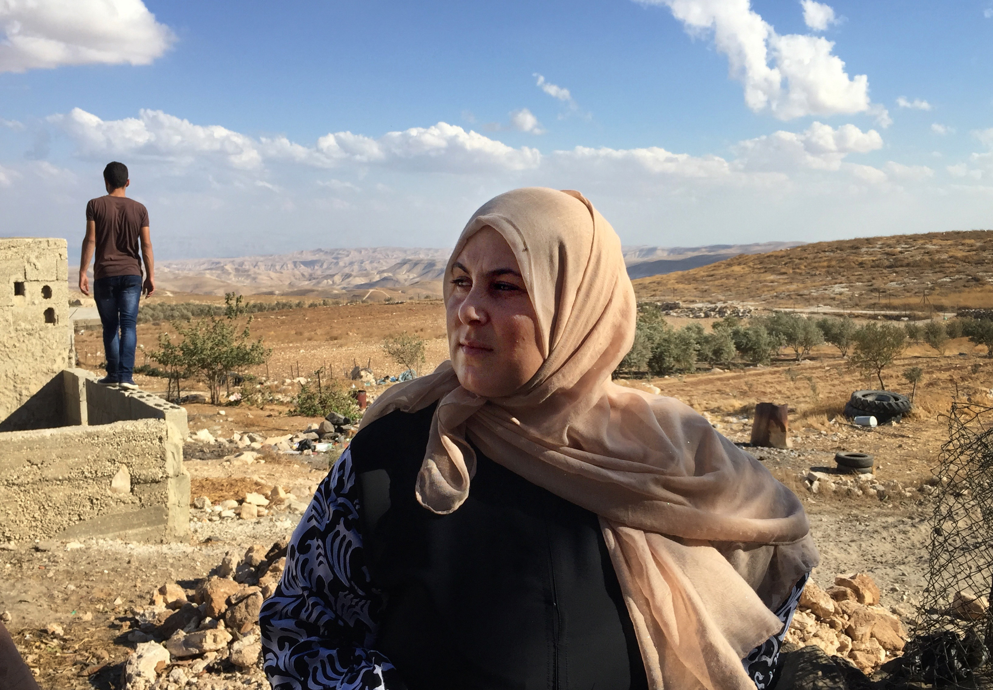 Fadia al-Wahsh, shown on September 23, 2016, is the leader of a village women's committee that is trying to get electricity for their community in Jubbet Adh Dhib, West Bank. MUST CREDIT: Photo by Anne-Marie O'Connor for The Washington Post