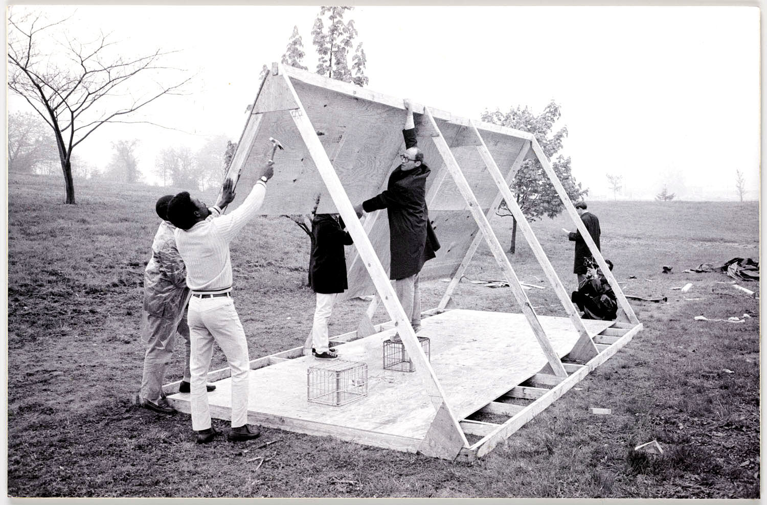 John Wiebenson, a local architect, and others build a structure to use during the 1968 Poor People's Campaign on the National Mall in Washington, D.C. MUST CREDIT: Leah L. Jones, Smithsonian's National Museum of African American History and Culture