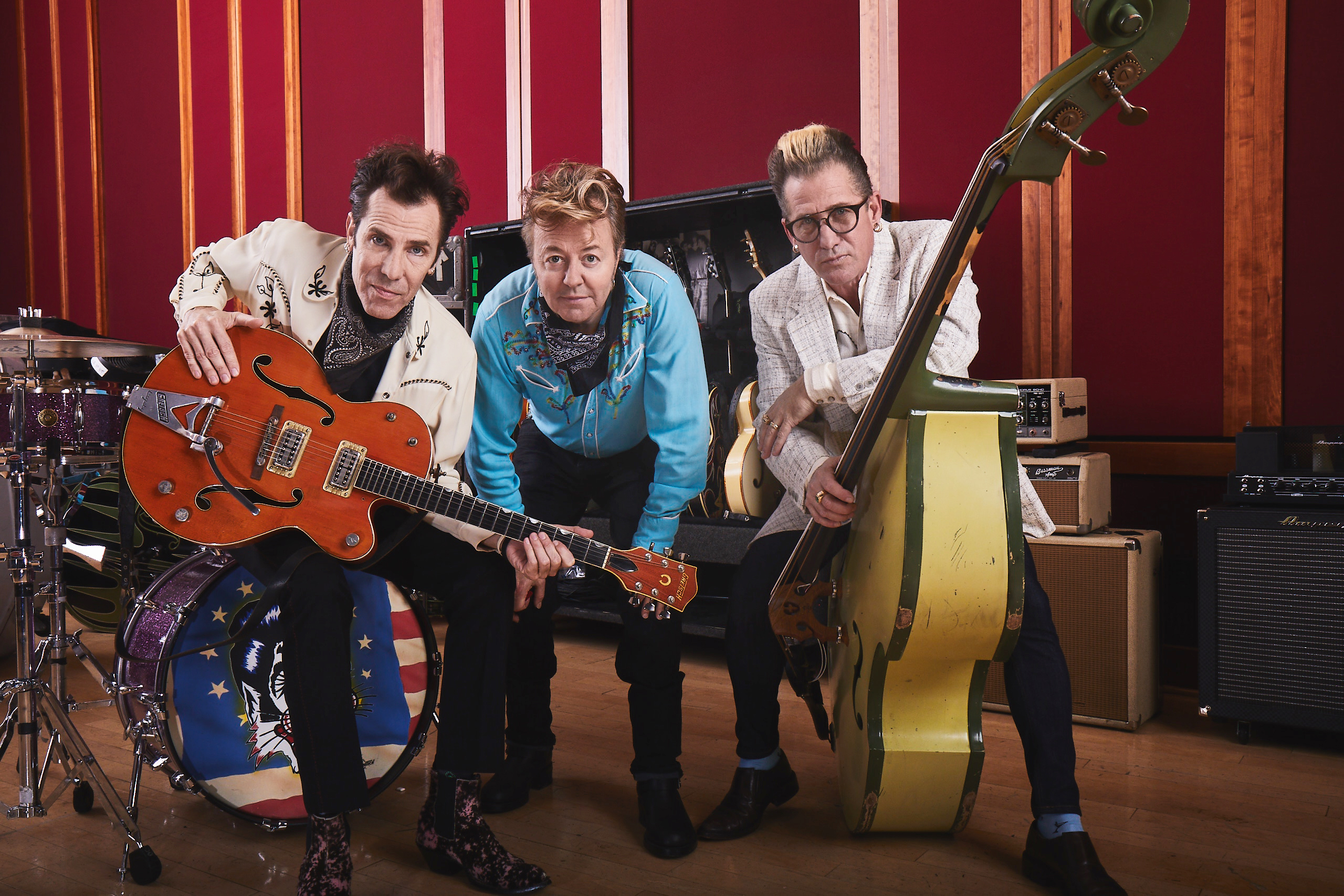 The Stray Cats, from left, drummer Slim Jim Phantom, guitarist/vocalist Brian Setzer and bassist Lee Rocker are back with a new album,