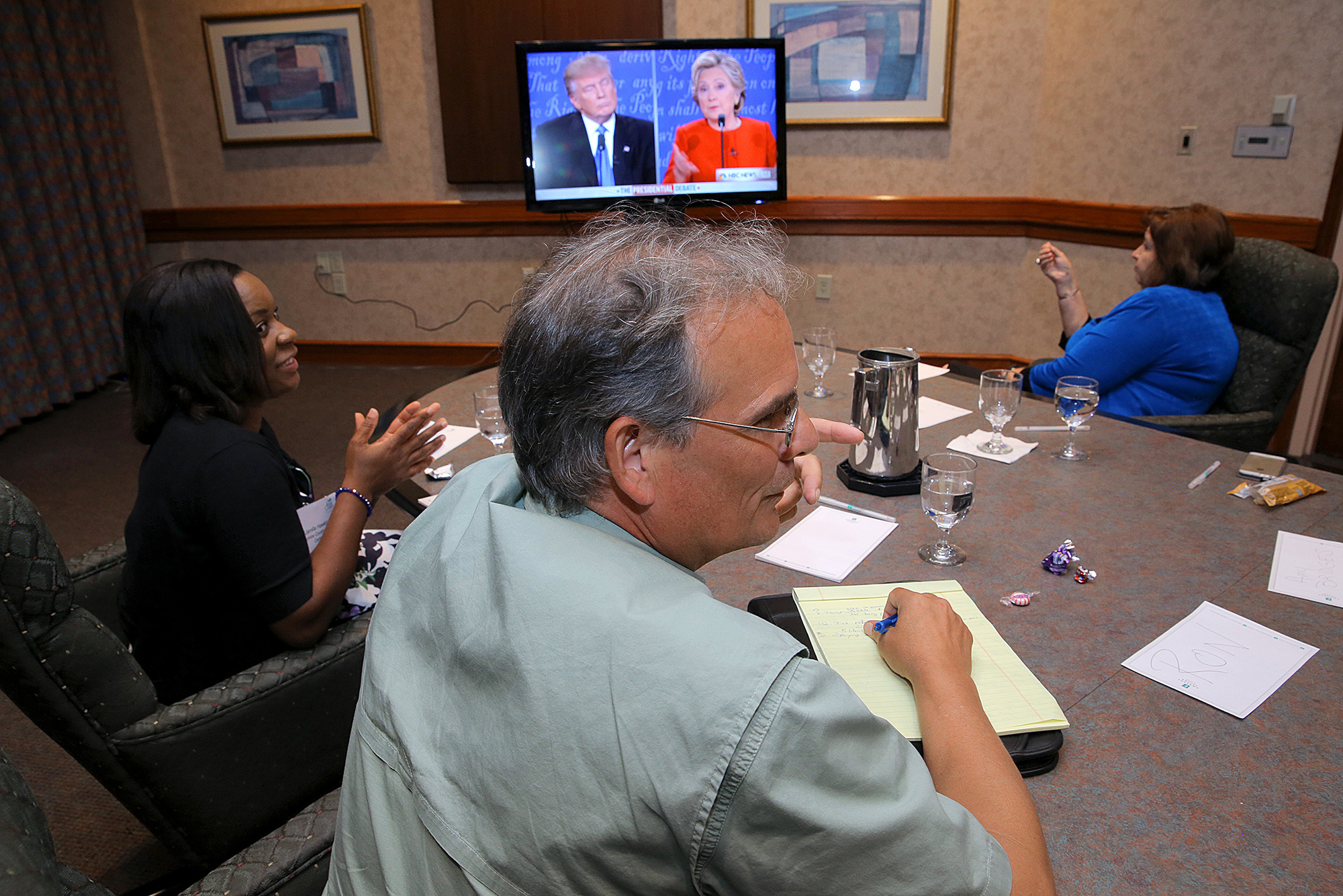 Undecided voters in the presidential election, from left Jamilla Hawkins, Ron Townley and Cindy Adair. MUST CREDIT: Ted Richardson for The Washington Post.