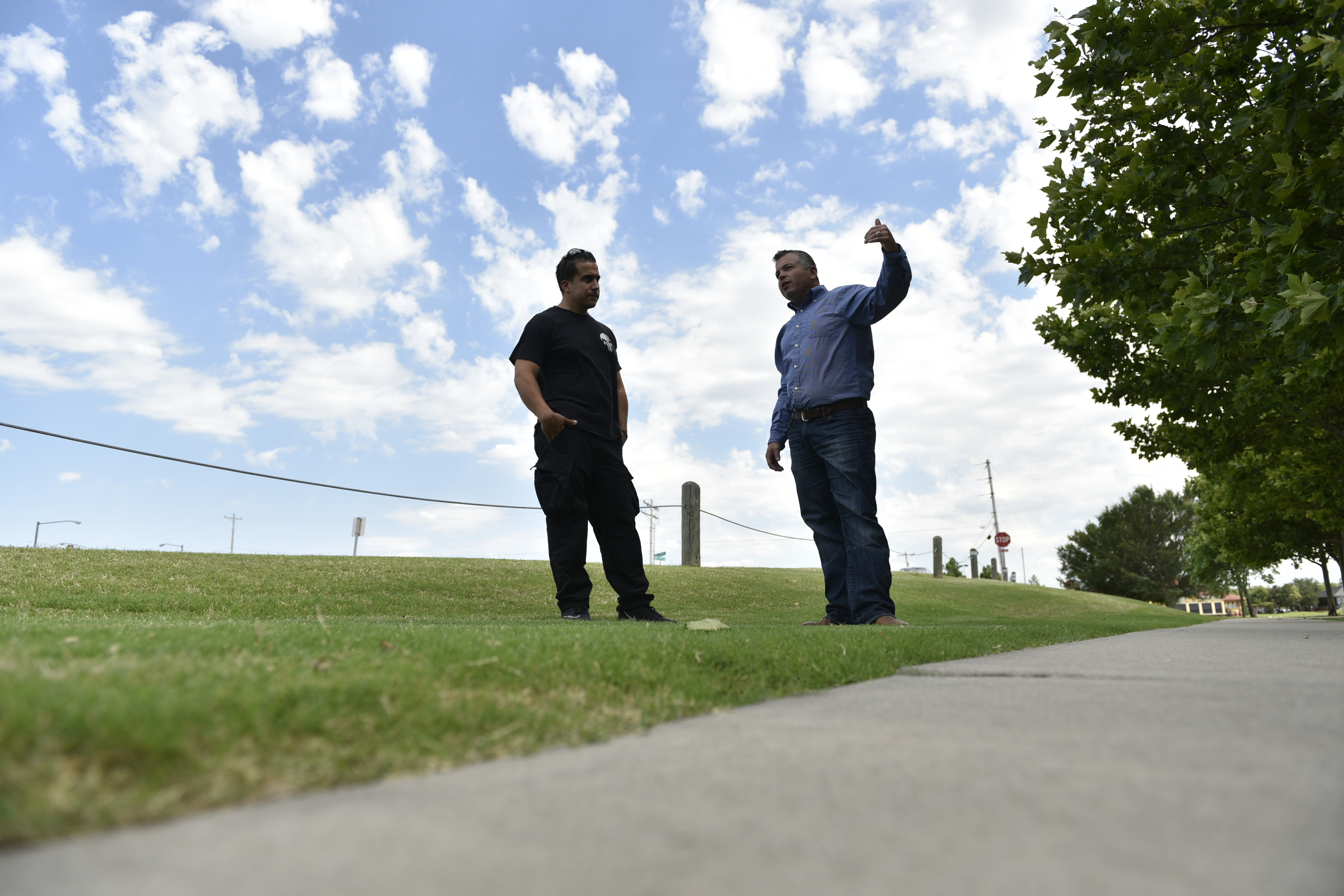 Juan Carlos Nazario, left, and Bryan Whittle speak on June 21, 2018, about their experience of confronting and killing a gunman on May 24 outside Louie's On the Lake in Oklahoma City. MUST CREDIT: Photo for The Washington Post by Nick Oxford