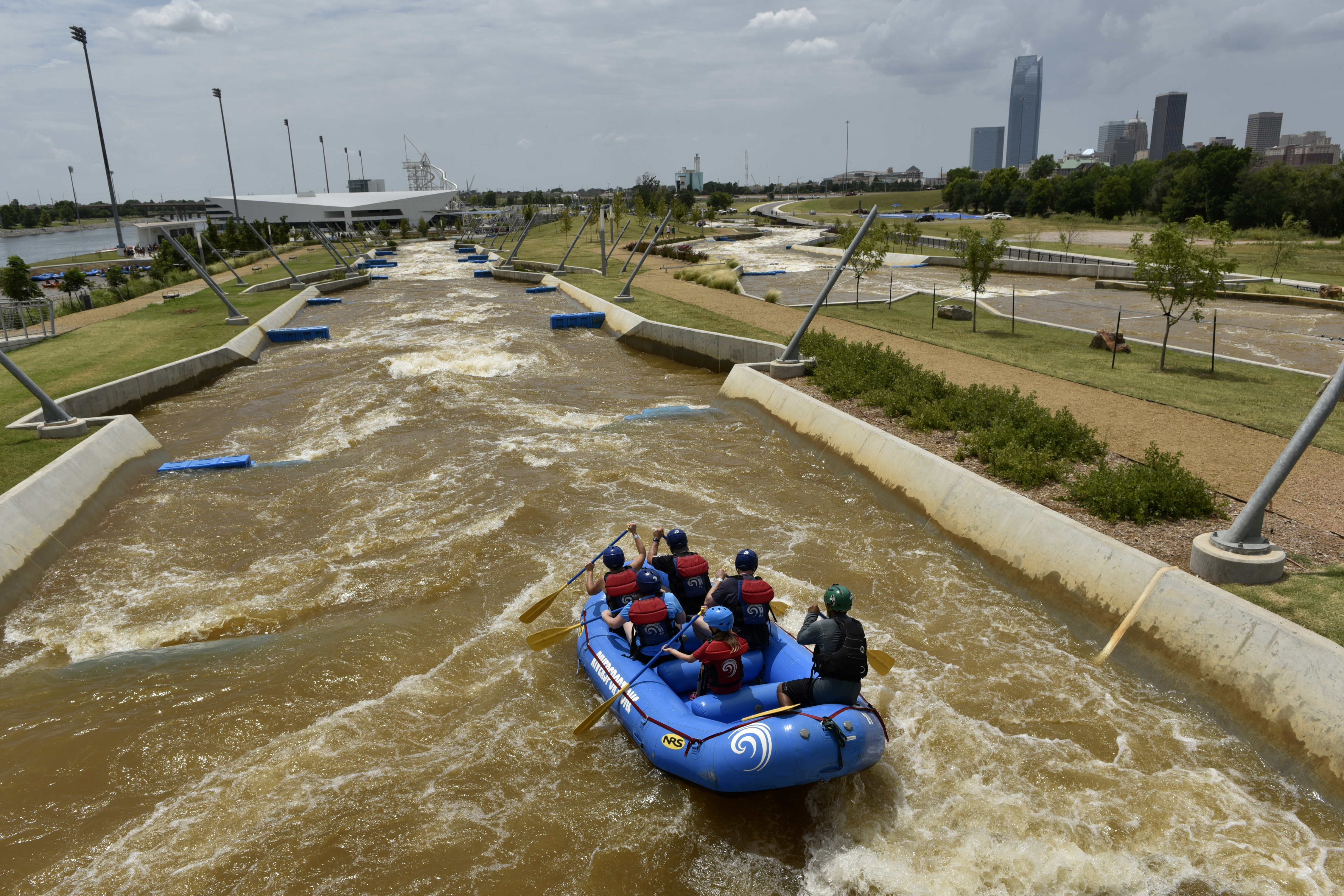 A group traverses the rapids at a white-water rafting and kayaking center that was paid for by a 1-cent sales tax increase in Oklahoma City. MUST CREDIT: Photo for The Washington Post by Nick Oxford