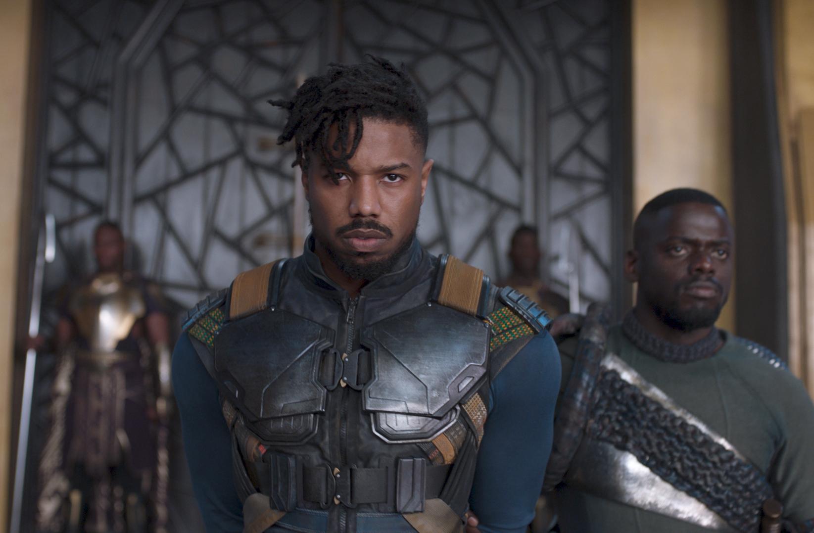 Michael B. Jordan, left, and Daniel Kaluuya as Killmonger and W'Kabi in Disney-Marvel's
