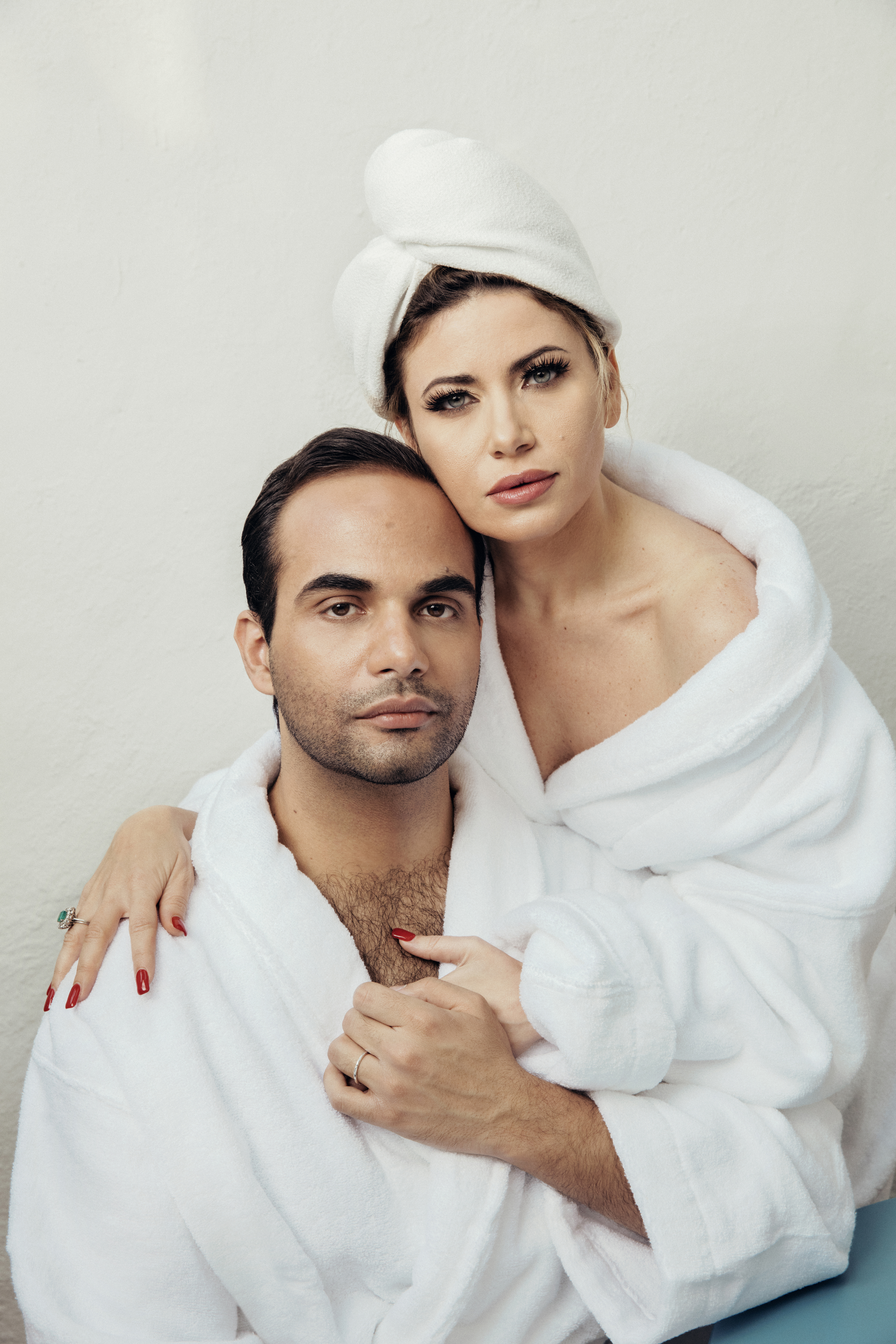 George and Simona Papadopoulos in their Los Angeles home. A film crew has been following the couple shooting a docu-series. MUST CREDIT: Photo for The Washington Post by Elisabeth Caren