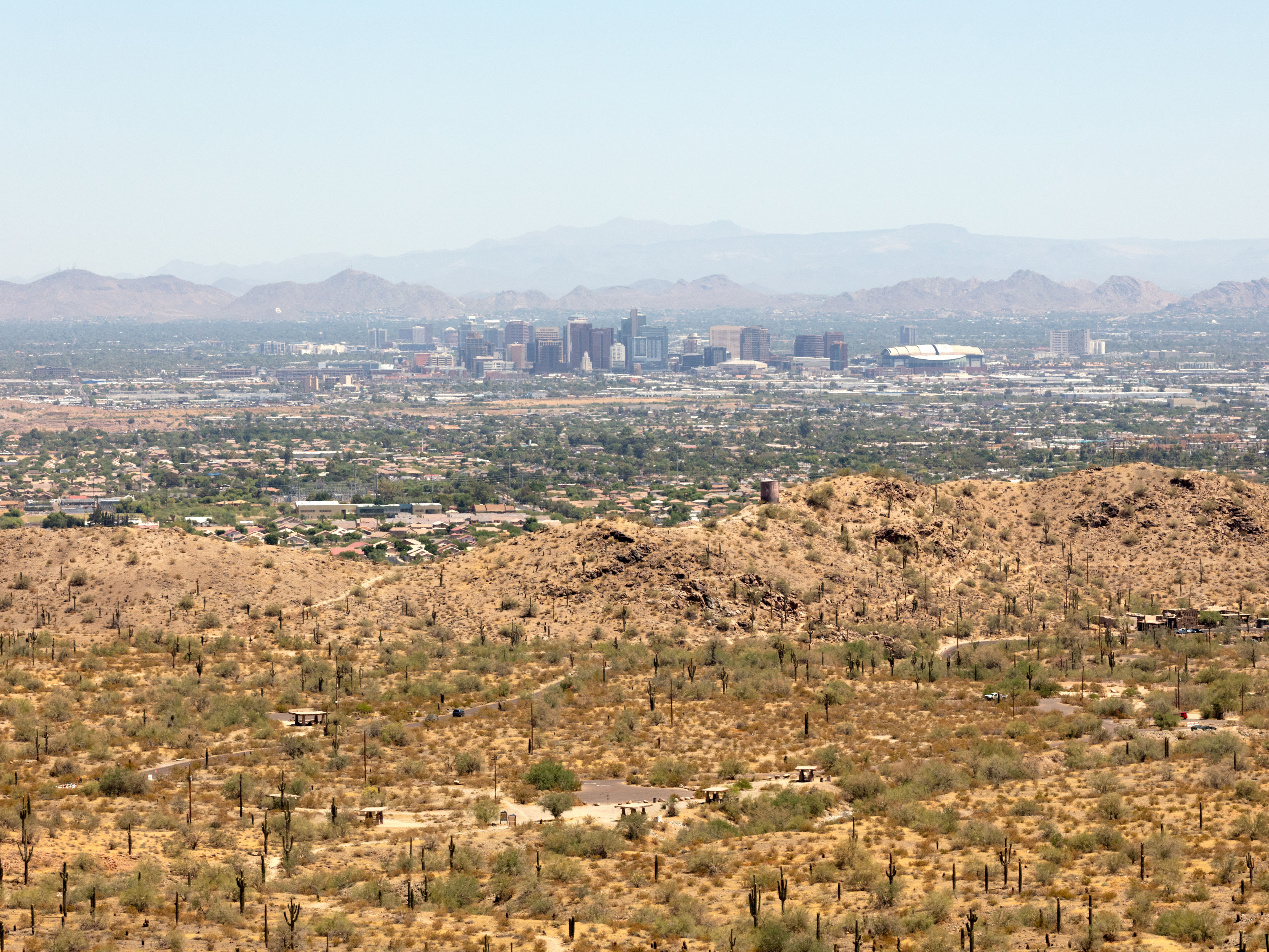 A view of Phoenix from South Mountain Park on June 18, 2020. MUST CREDIT: Washington Post photo by Cassidy Araiza