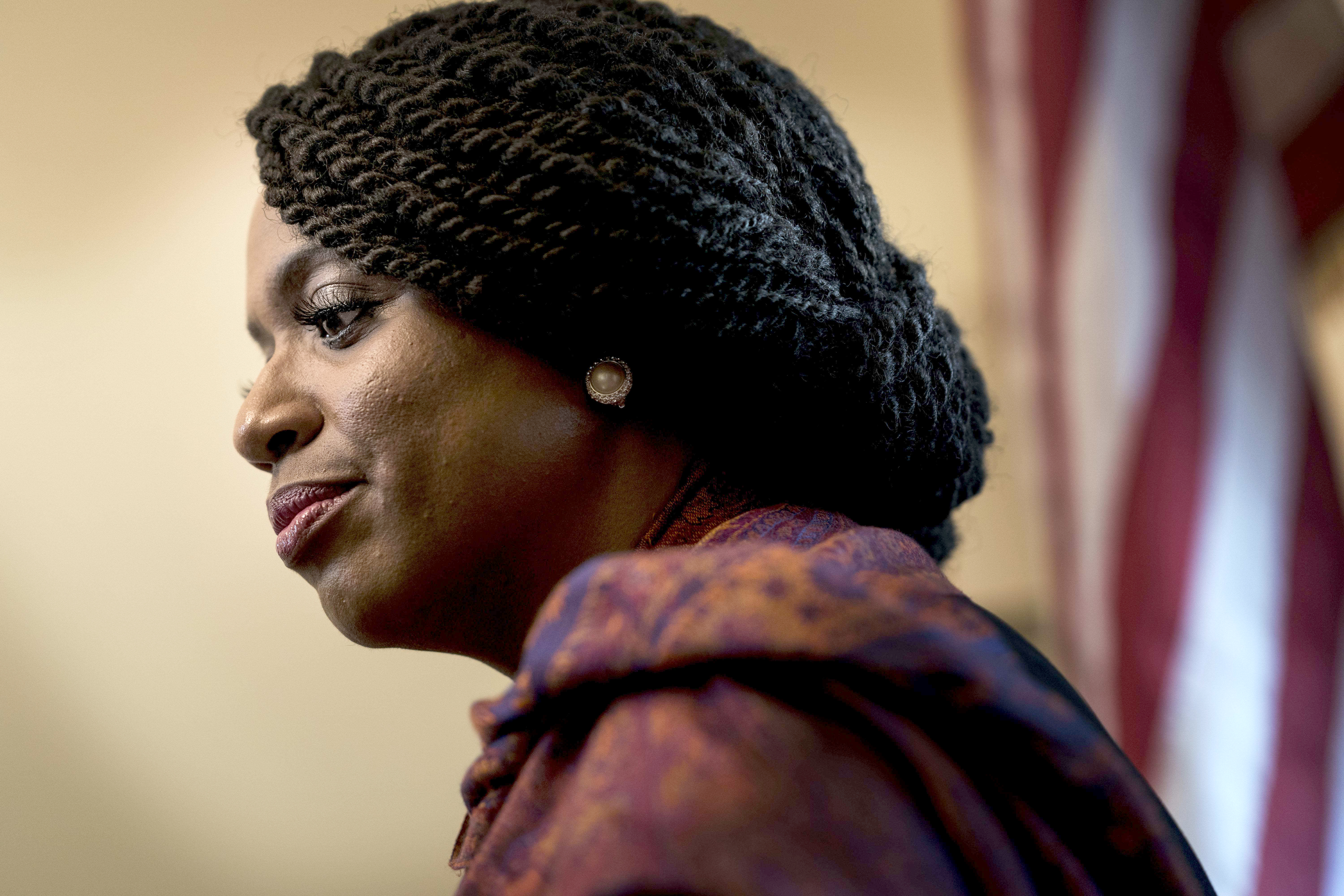 Freshman congresswoman Ayanna Pressley in her Capitol Hill office. MUST CREDIT: Washington Post photo by Melina Mara