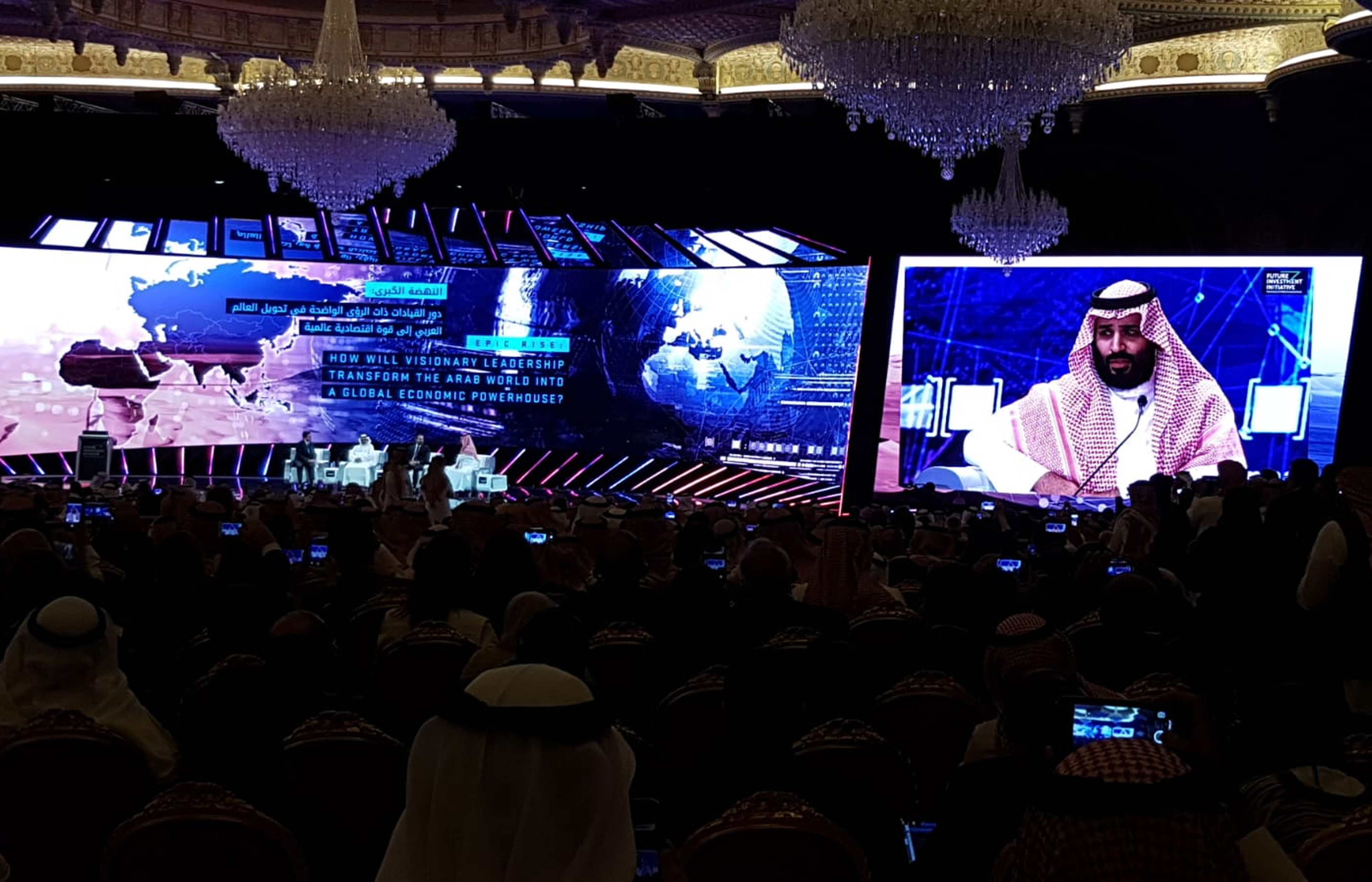 Saudi Crown Prince Mohammed bin Salman is displayed on a screen as he speaks at the Future Investment Initiative conference inside the King Abdulaziz Convention Center in Riyadh, Saudi Arabia, on Oct. 24, 2018. MUST CREDIT: Bloomberg photo by Javier Blas.