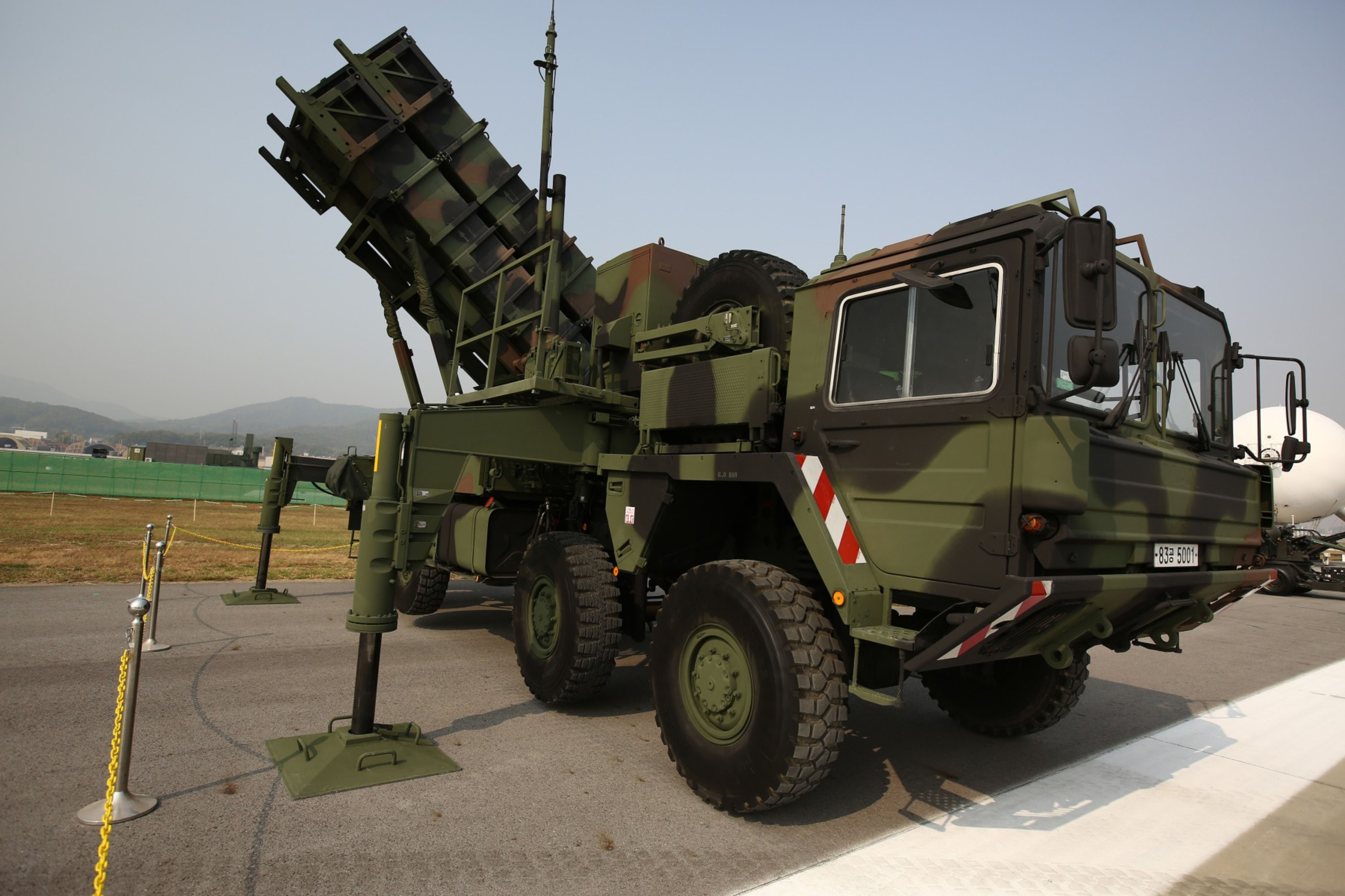 The MIM-104 Patriot surface-to-air missile system stands on display at the Seoul International Aerospace & Defense Exhibition in Seongnam, South Korea, on Oct.19, 2015. MUST CREDIT: Bloomberg photo by SeongJoon Cho.