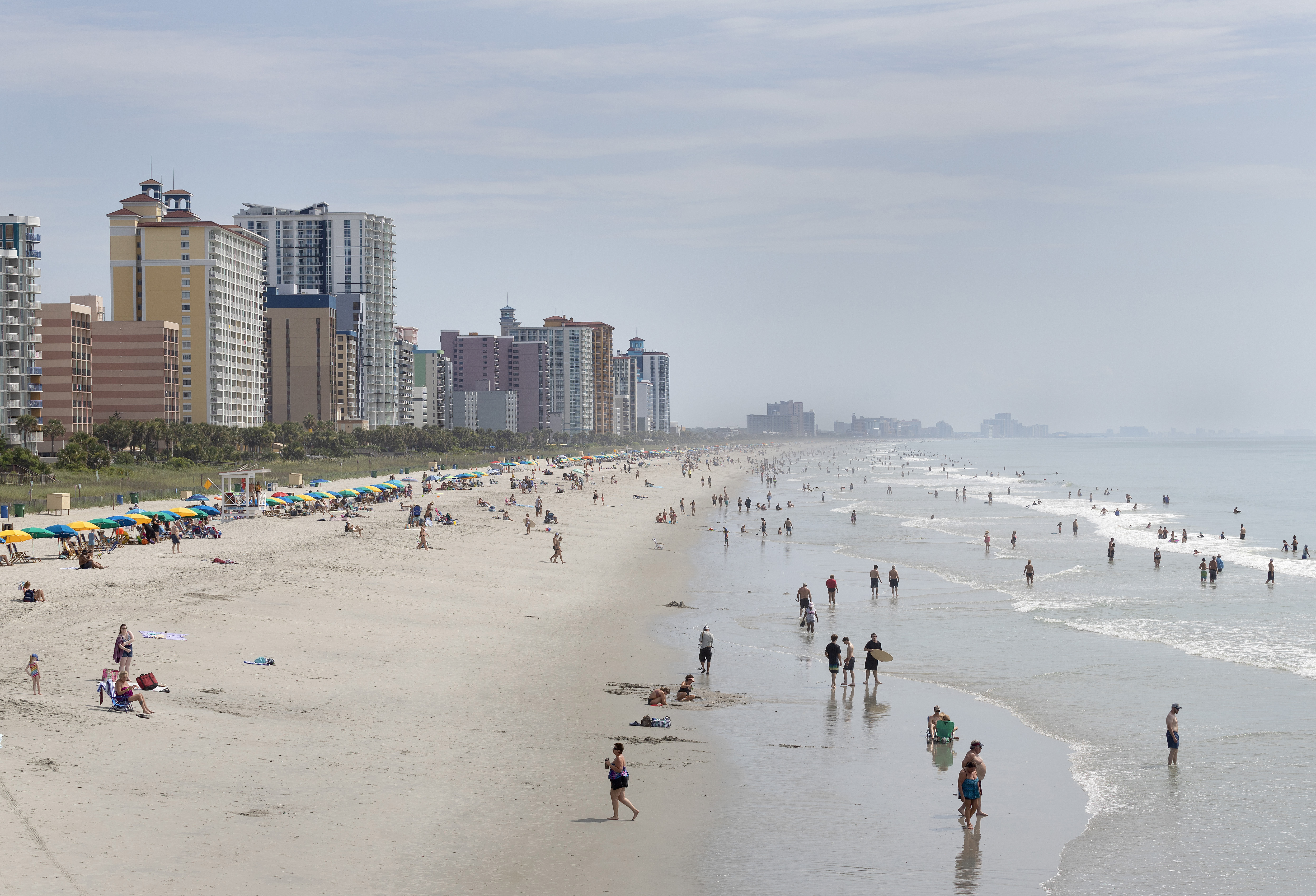 Crowds pack the beach in Myrtle Beach, S.C. MUST CREDIT: Photo for The Washington Post by Brett Lemmo