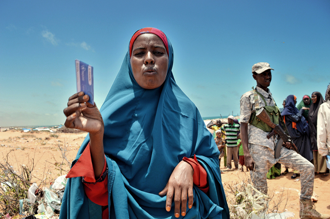Katra Abii says the Kenyan government forced her to leave Dadaab. Now in Kismayo, she and her eight children often go hungry because vendors here hike up the prices of basic food items when they see her World Food Programme-issued ration card. MUST CREDIT: Photo by Ty McCormick-Foreign Policy