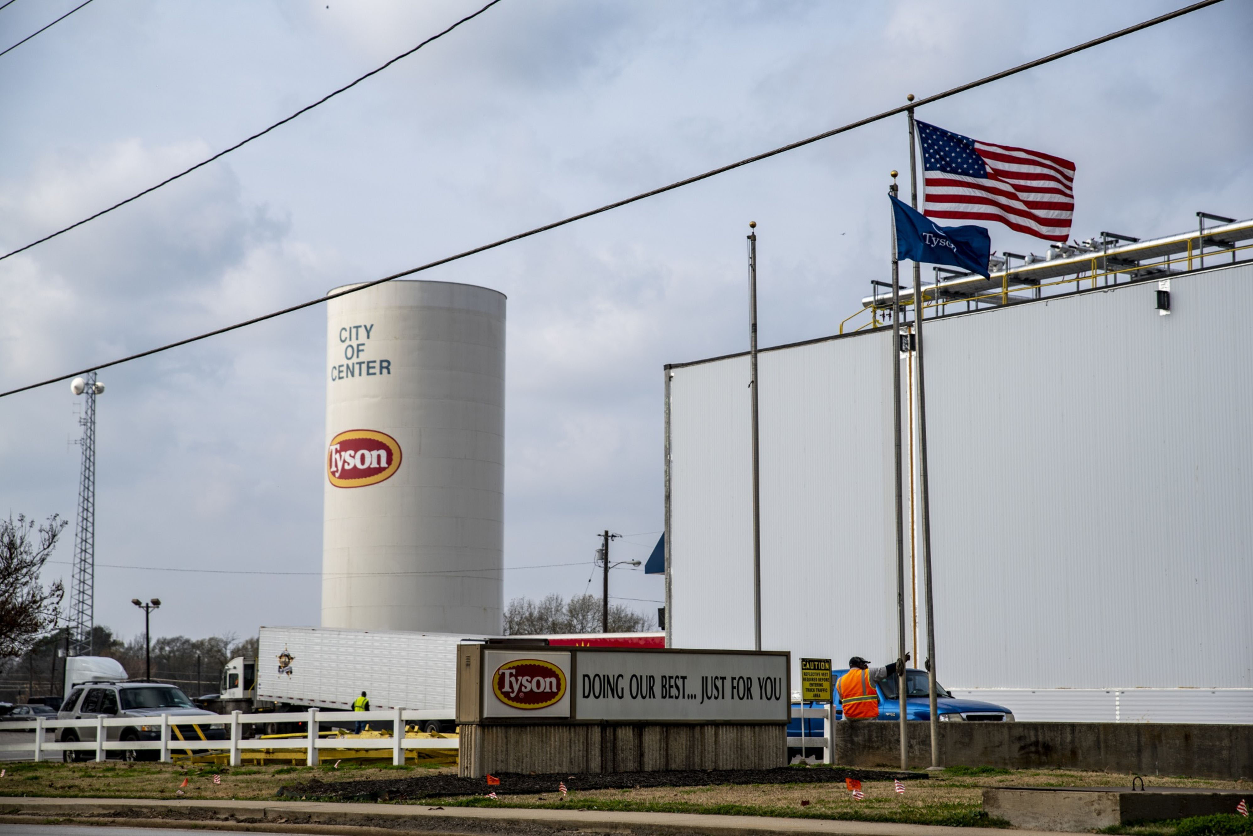 A tower is seen at Tyson Food Inc. in Center, Texas on Dec. 9, 2019. MUST CREDIT: Bloomberg photo by Sergio Flores.