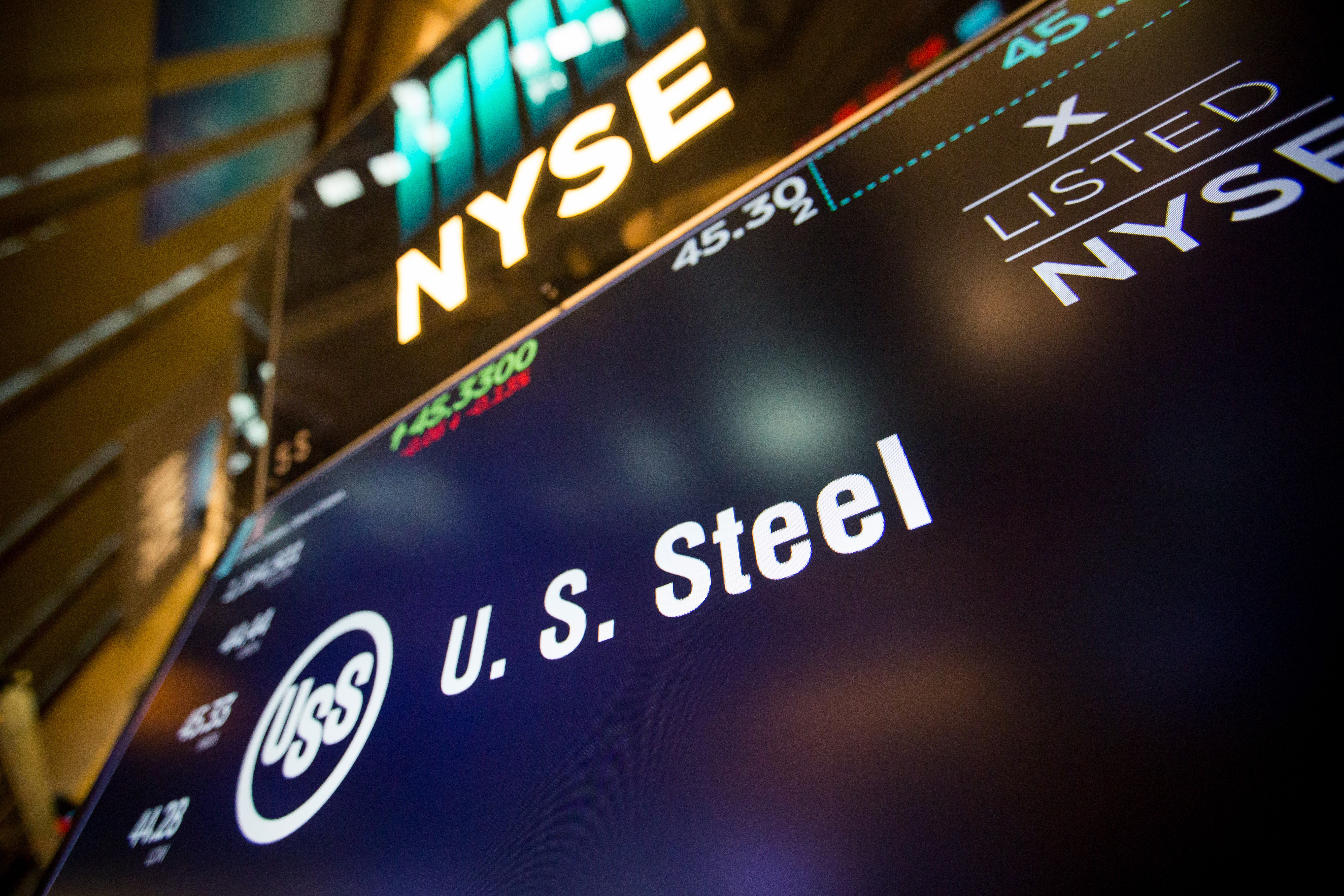 A monitor displays U.S. Steel Corp. signage on the floor of the New York Stock Exchange in New York on March 5, 2018. MUST CREDIT: Bloomberg photo by Michael Nagle.