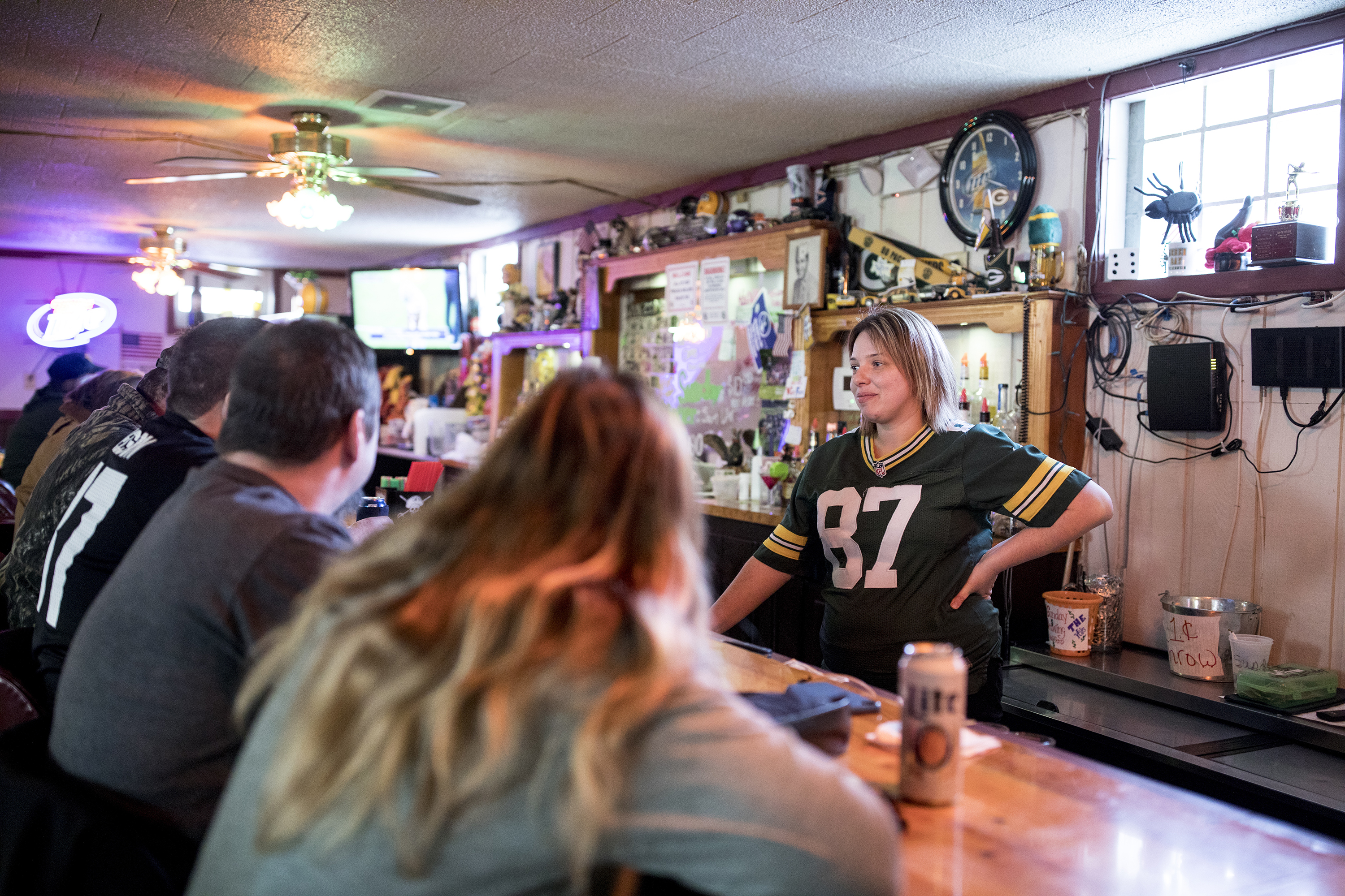 Theresa Bennett, 33, of Holmen, Wis., is one of the owners of the Vet's Bar in Trempealeau, Wis. The bar has a