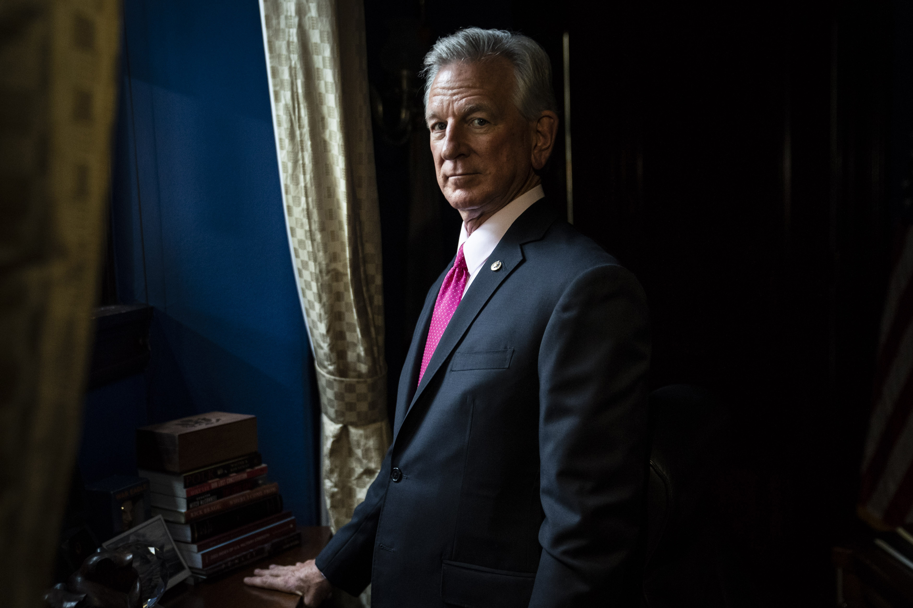 Sen. Tommy Tuberville, R-Ala., poses for a portrait in his office on Capitol Hill on Oct. 6. MUST CREDIT: Washington Post photo by Jabin Botsford