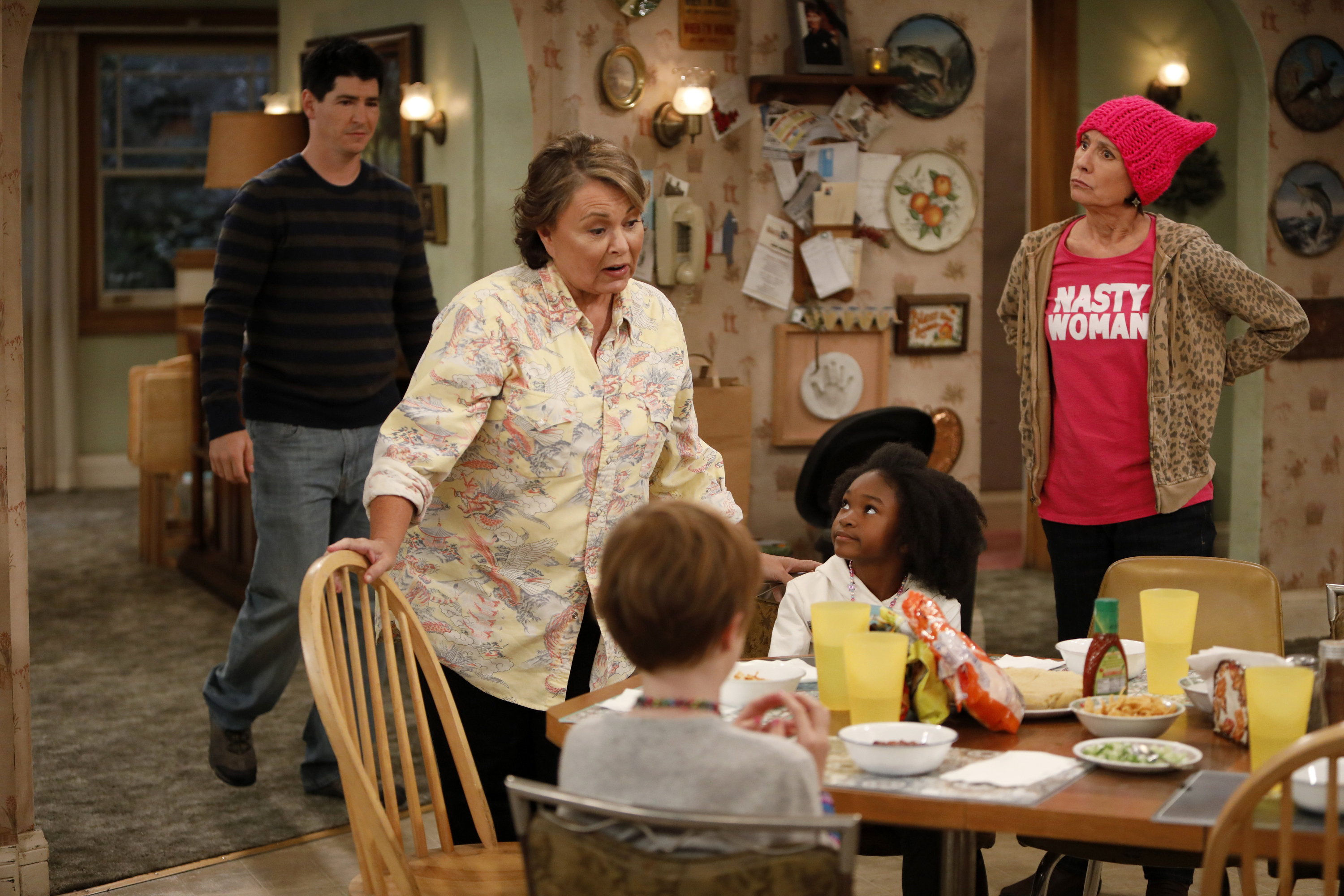 Roseanne finds herself at political odds with her sister, Jackie (Laurie Metcalf) in the re-booted