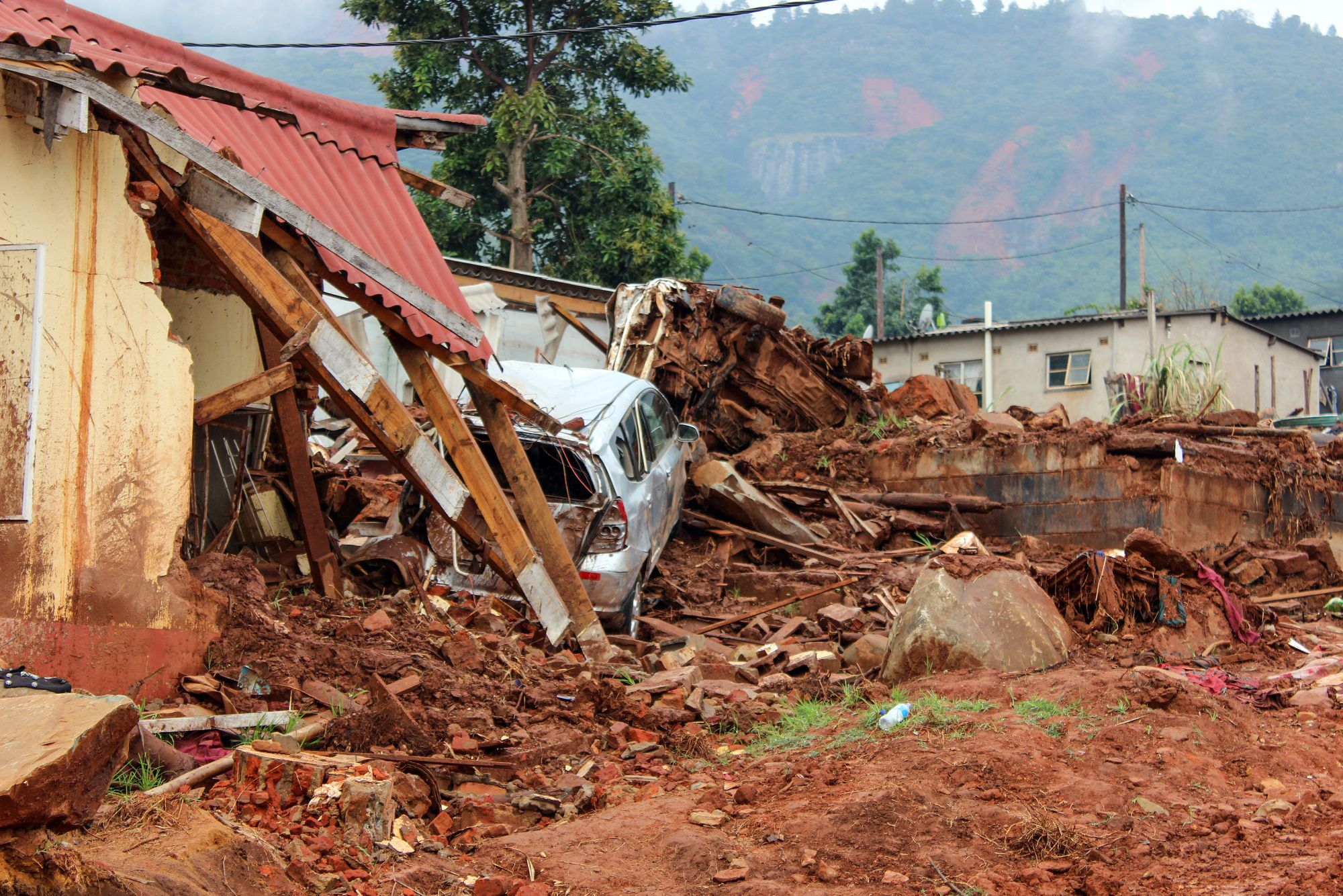 A residential house lays destroyed following a landslide in Ngangu, Chimanimani, Zimbabwe, on April 13, 2019. MUST CREDIT: Bloomberg photo by Brian Latham.